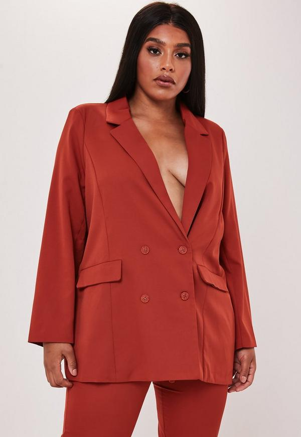 Plus Size Red Co Ord Oversized Double Button Blazer by Missguided