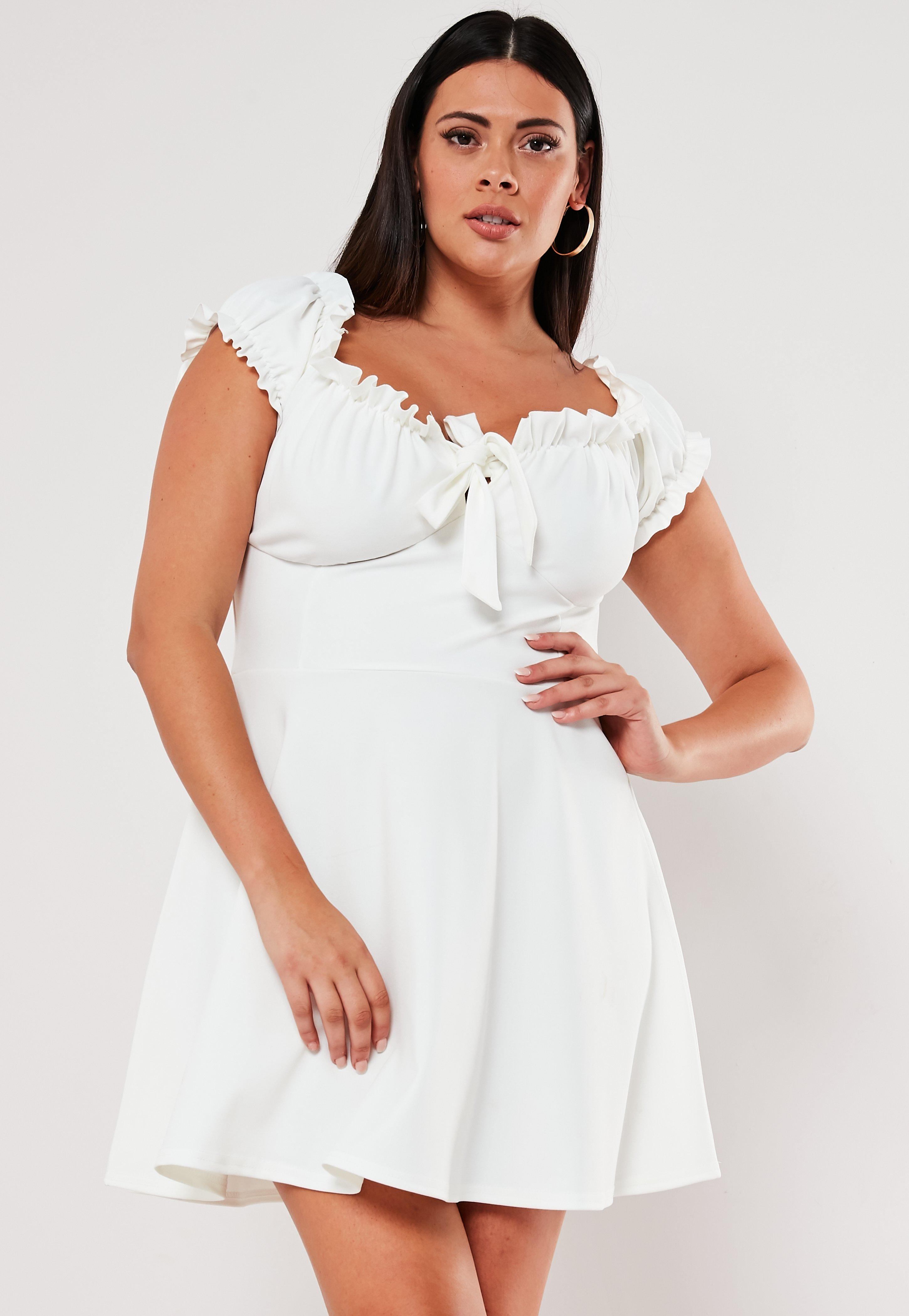 Plus Size White Milkmaid Skater Dress