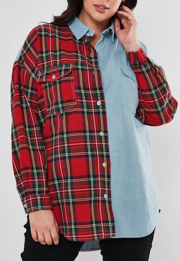 Plus Size Blue Oversized Tartan Spliced Denim Shirt