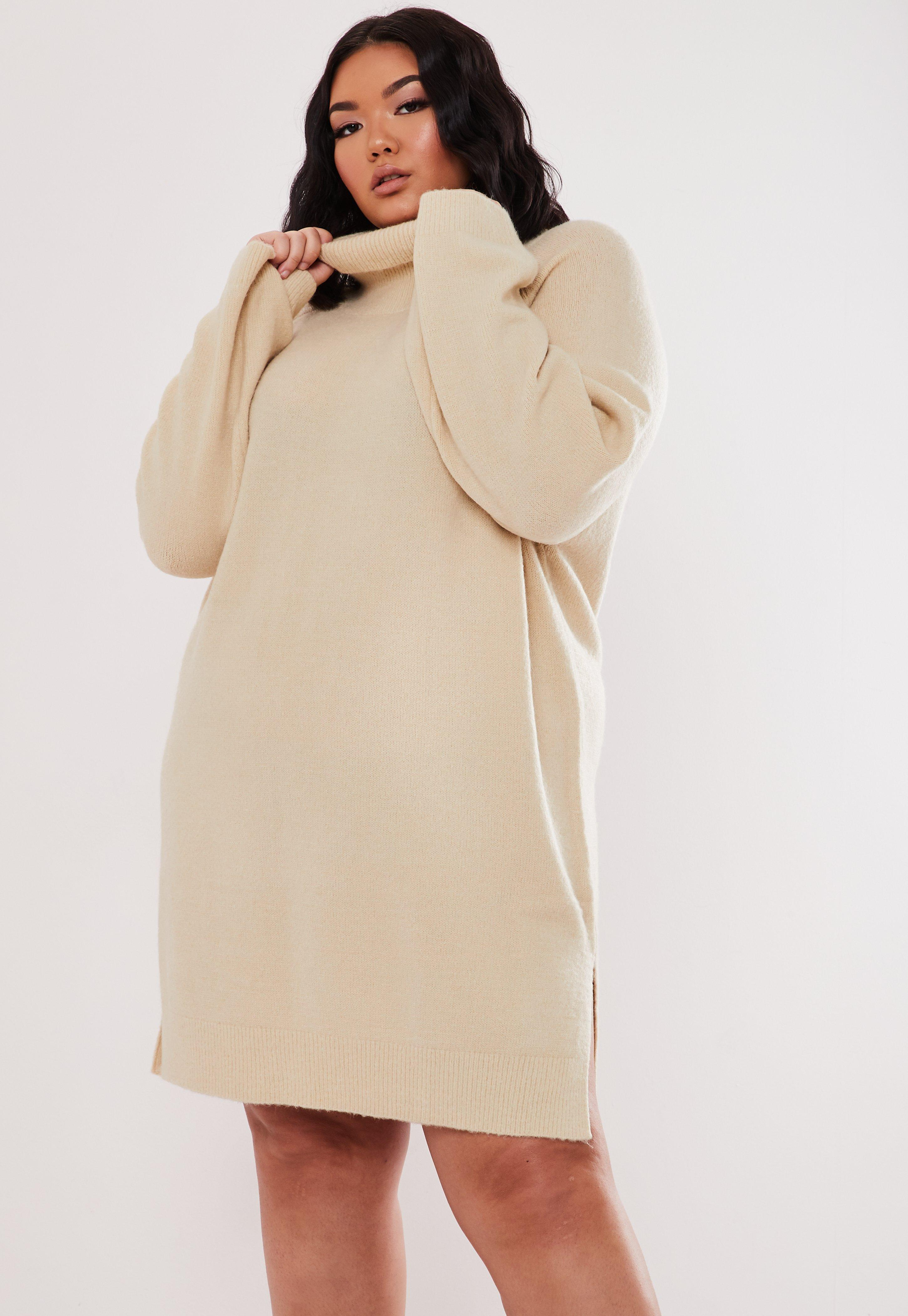 Plus Size Stone High Neck Jumper Dress