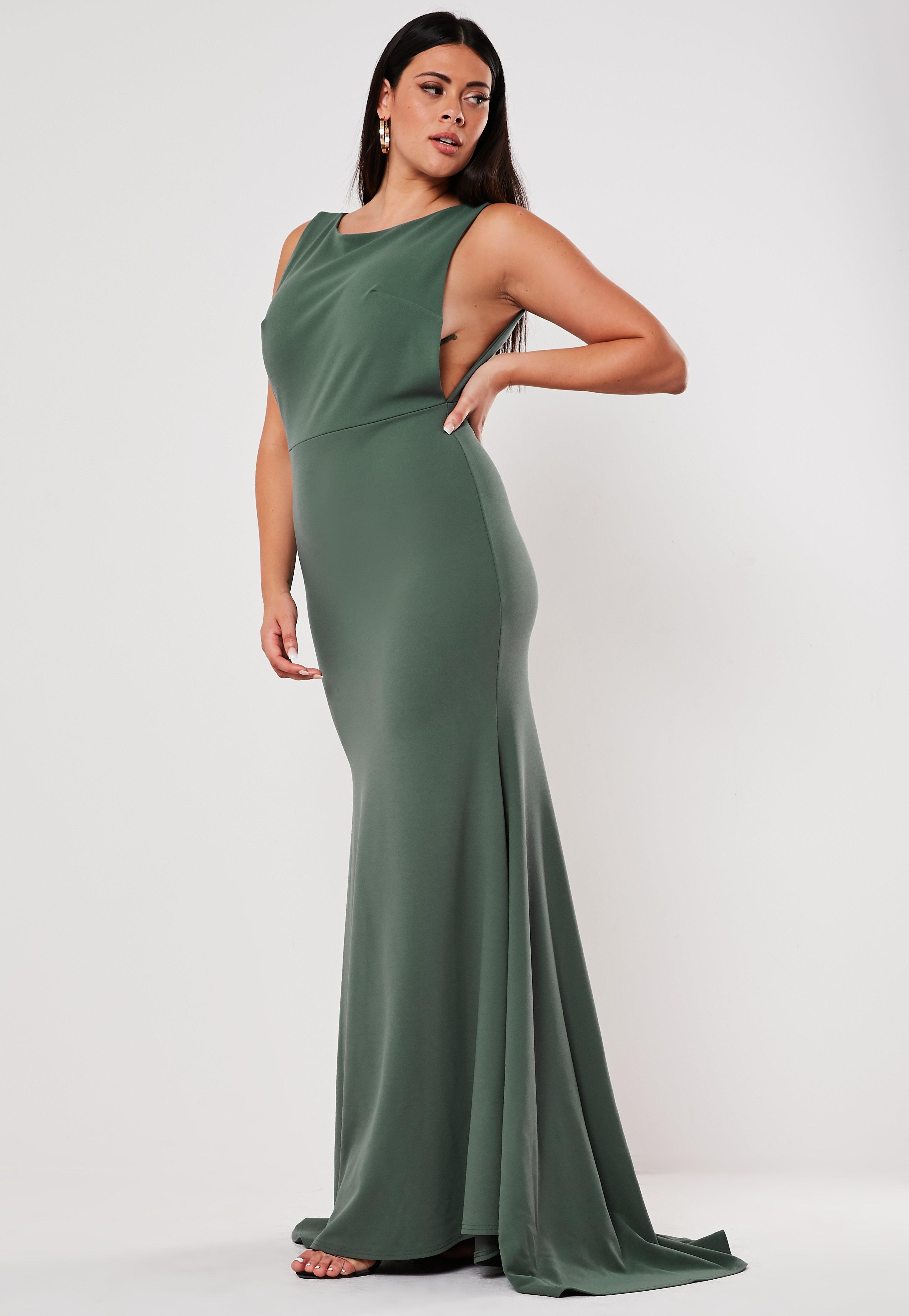 Plus Size Bridesmaid Green Sleeveless Low Back Maxi Dress