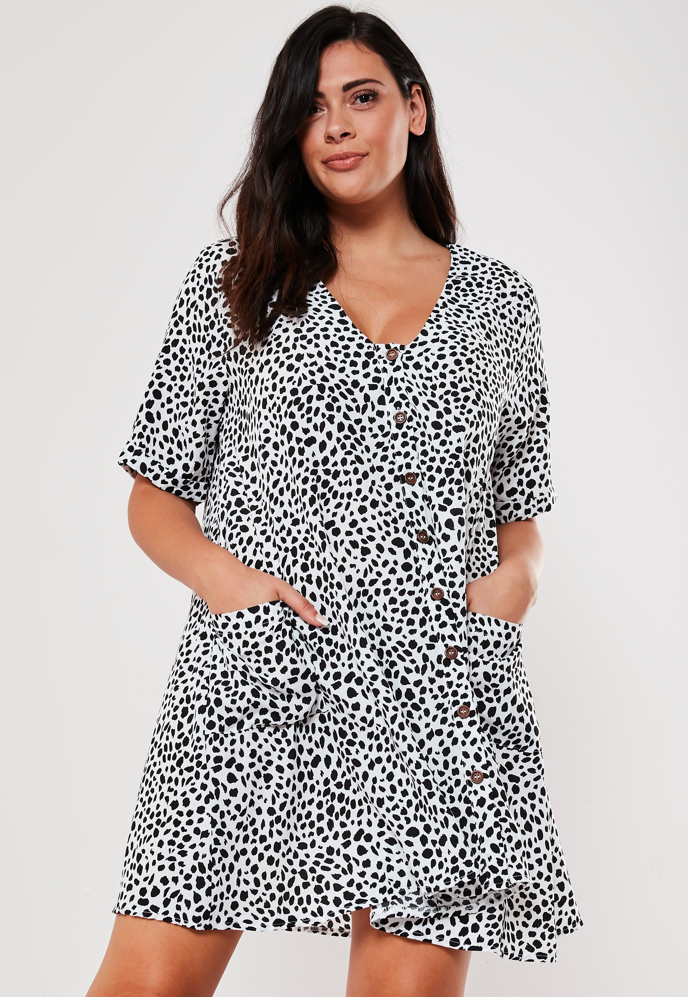 Plus Size White Dalmatian Button Down Smock Dress