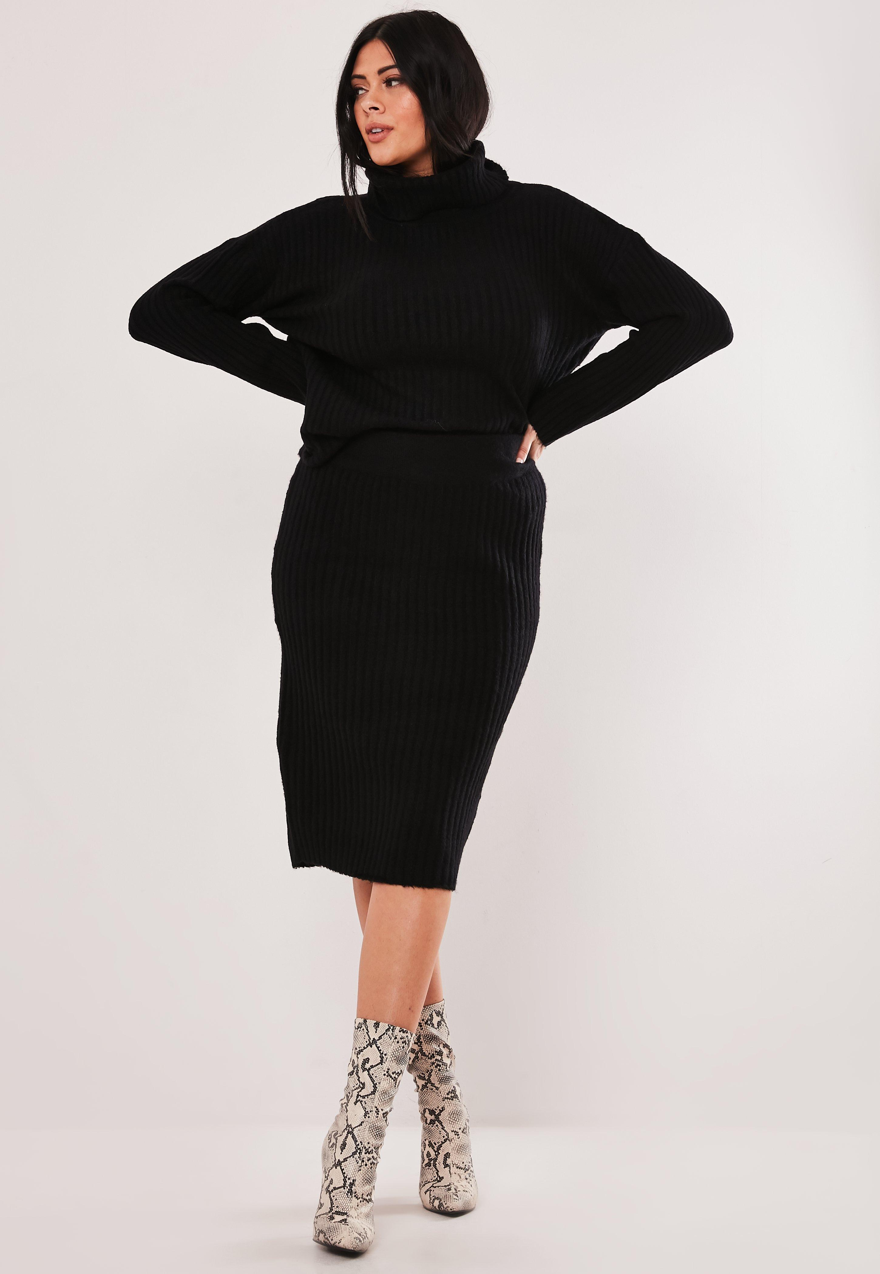 Plus Size Black Roll Neck Knitted Co Ord Set
