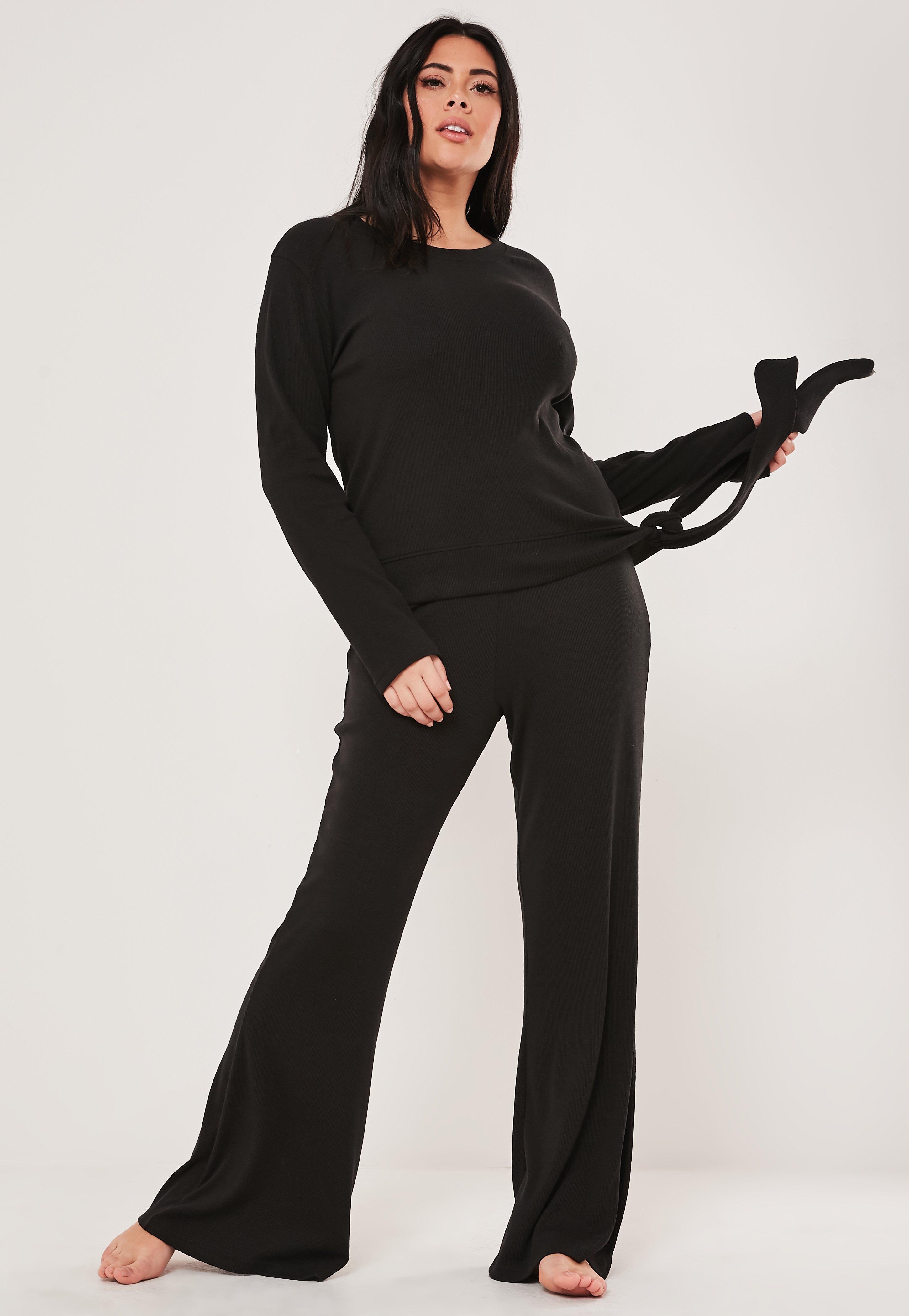 Plus Size Black Side Tie Flared Leg Loungewear Set