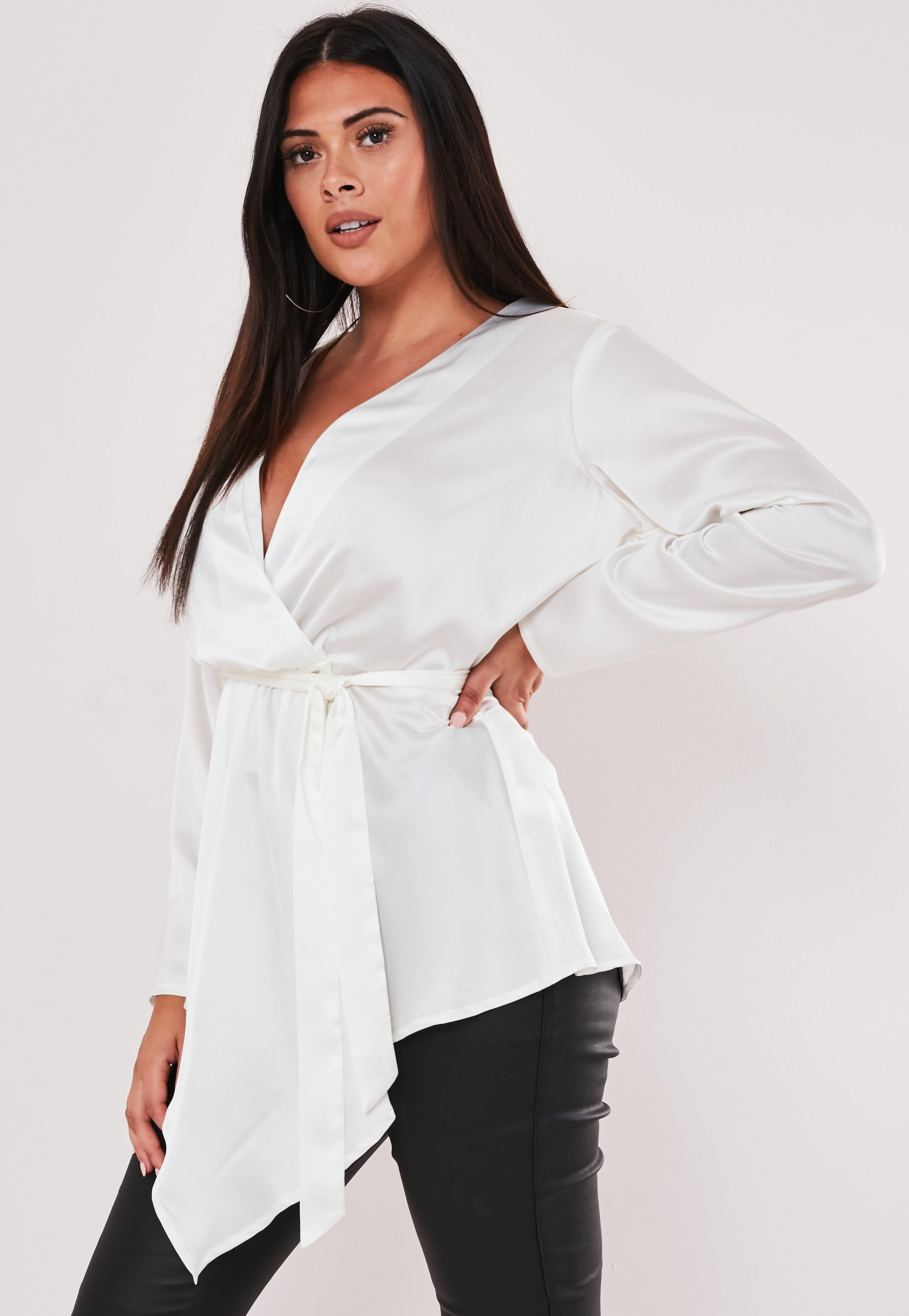 best quality best collection later Plus Size Ivory Tie Front Satin Blouse