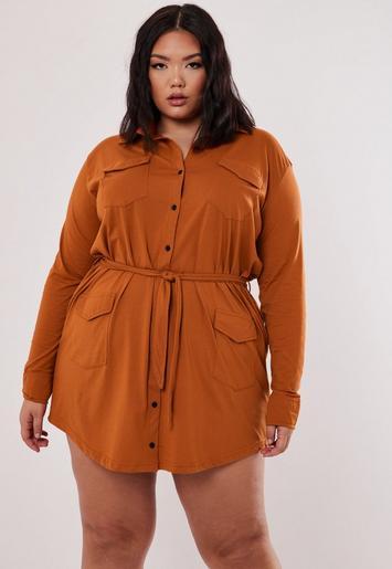 Missguided - Plus Size Orange Utility Shirt Dress
