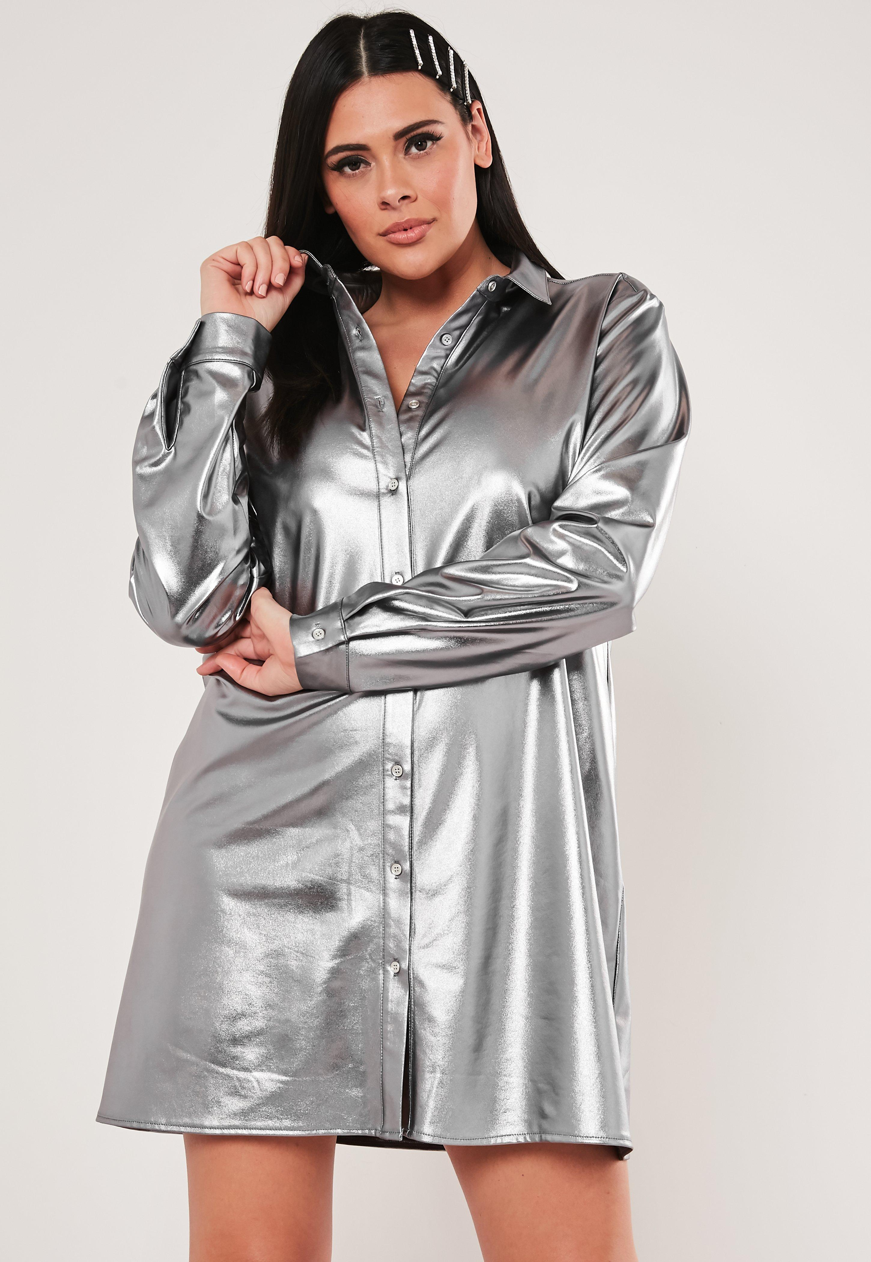 Plus Size Silver Oversized Shirt Dress