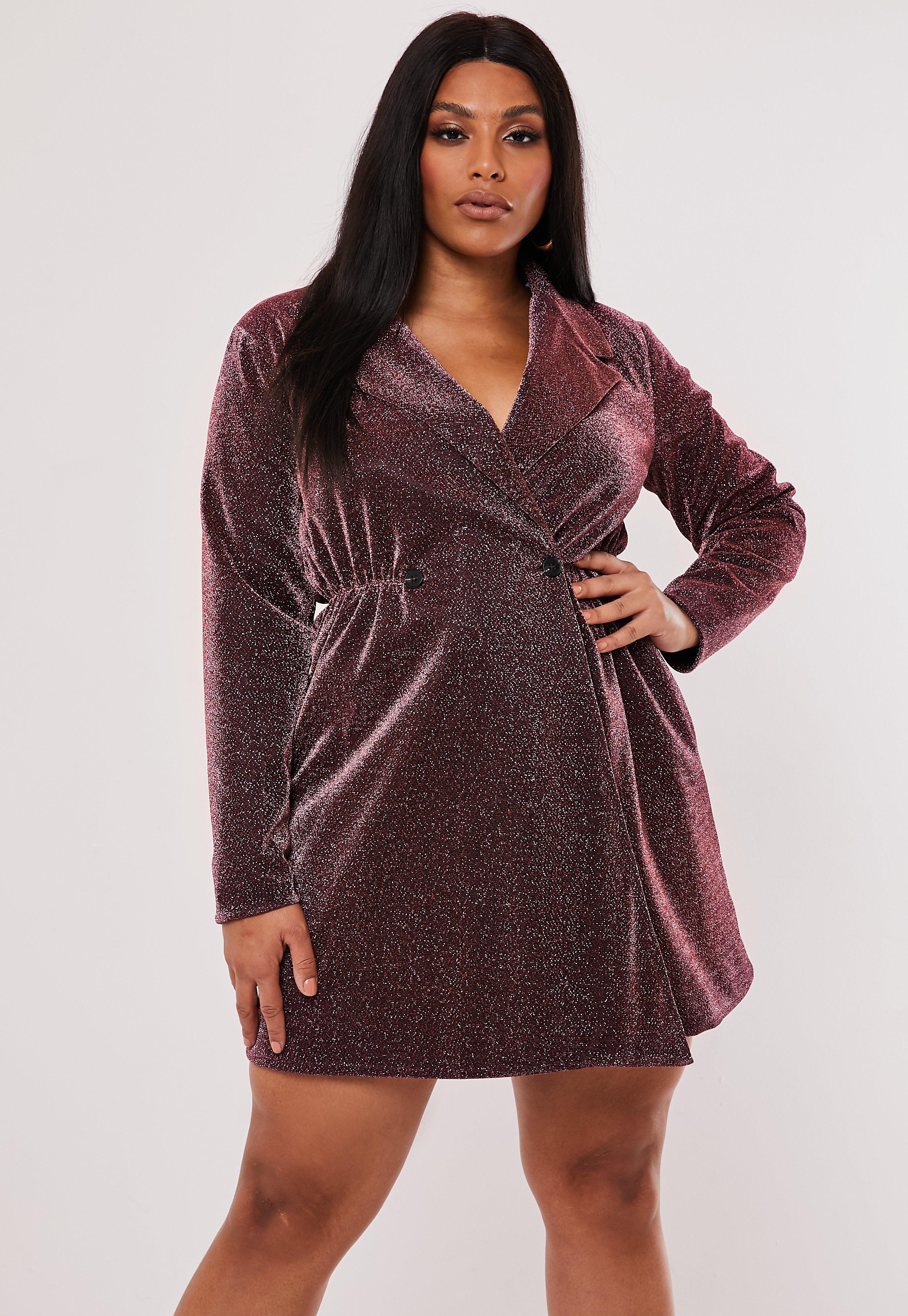Plus Size Pink Glitter Wrap Blazer Dress