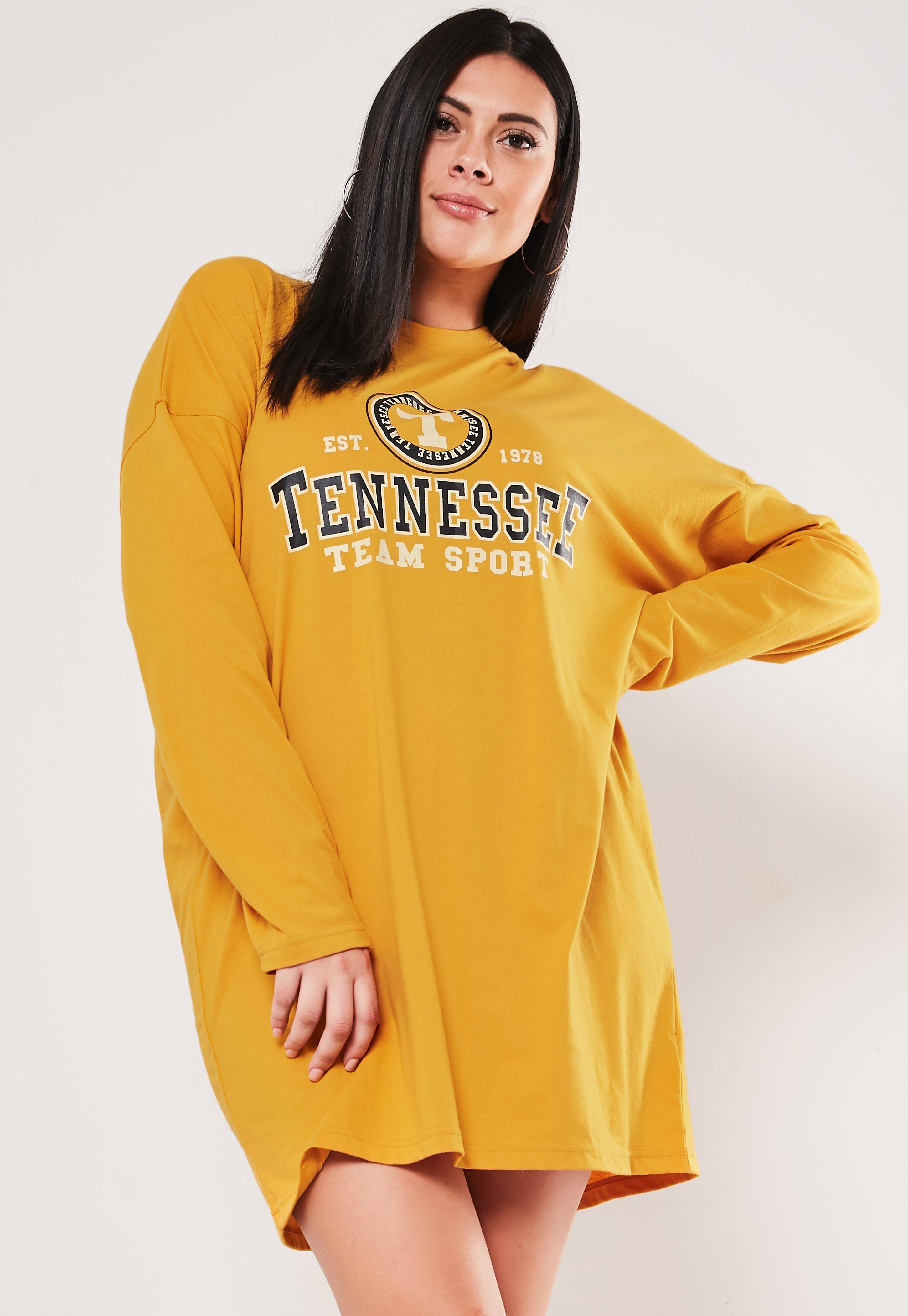 Plus Oversize Mustard Tennessee TShirt Dress