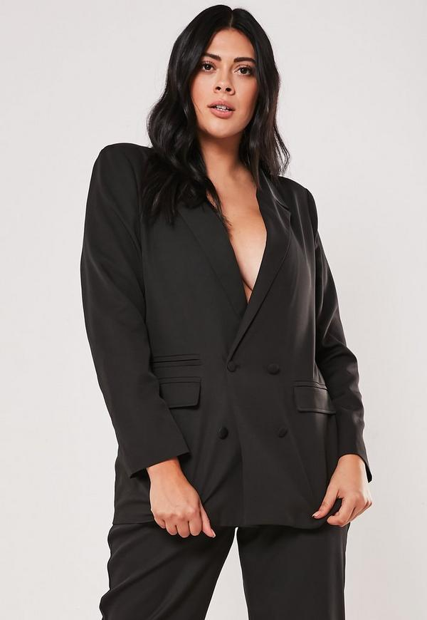 Plus Size Black Co Ord Boyfriend Blazer by Missguided