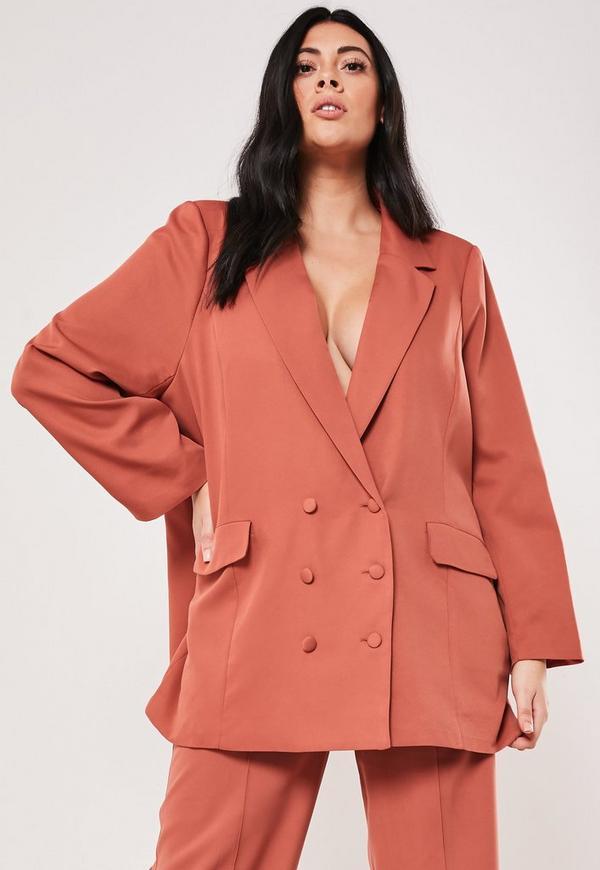 Plus Size Rust Co Ord Boyfriend Blazer by Missguided