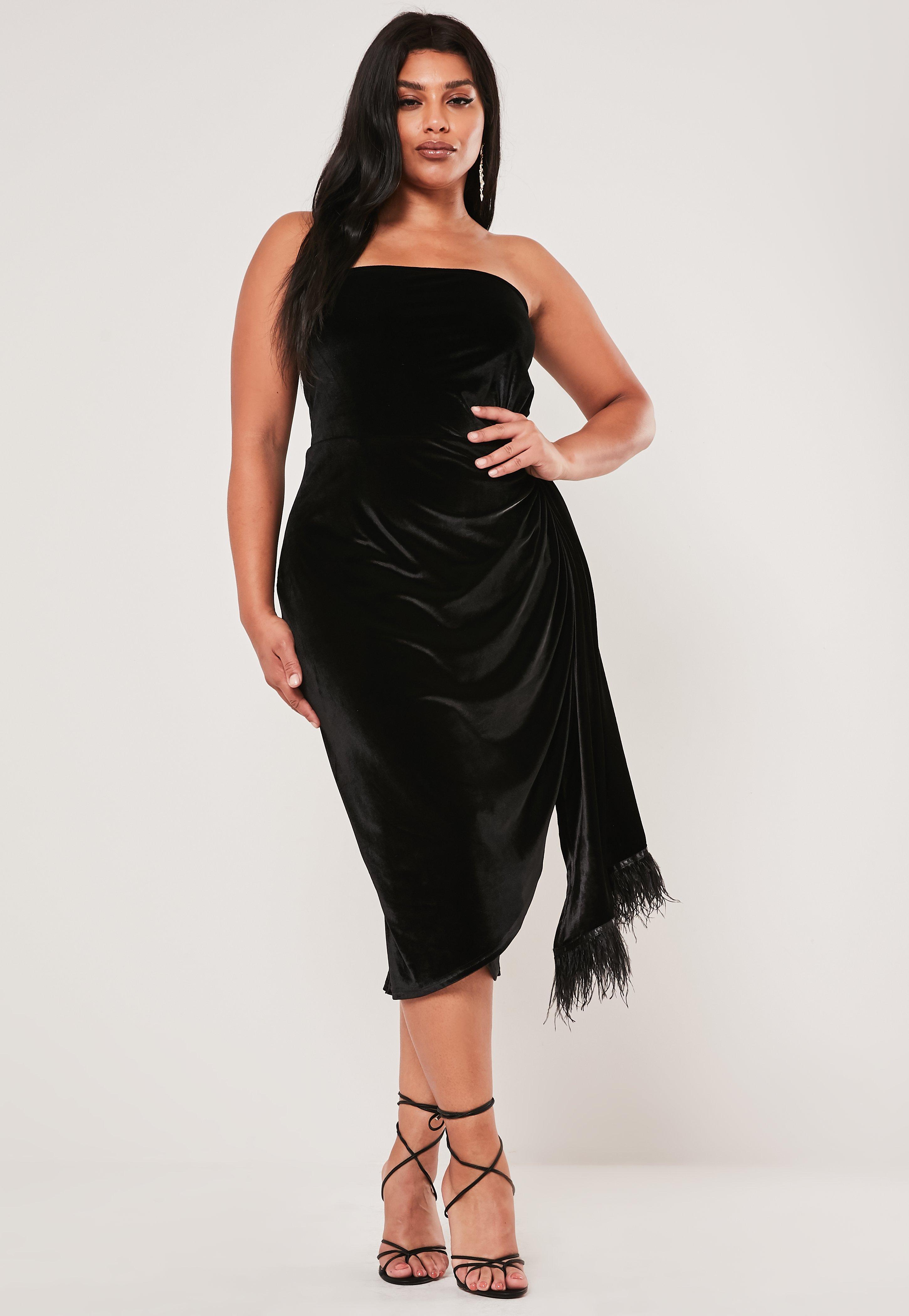 Plus Size Black Velvet Feathered Drape Mini