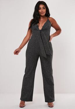 Plus Size Black Glitter Knot Front Jumpsuit