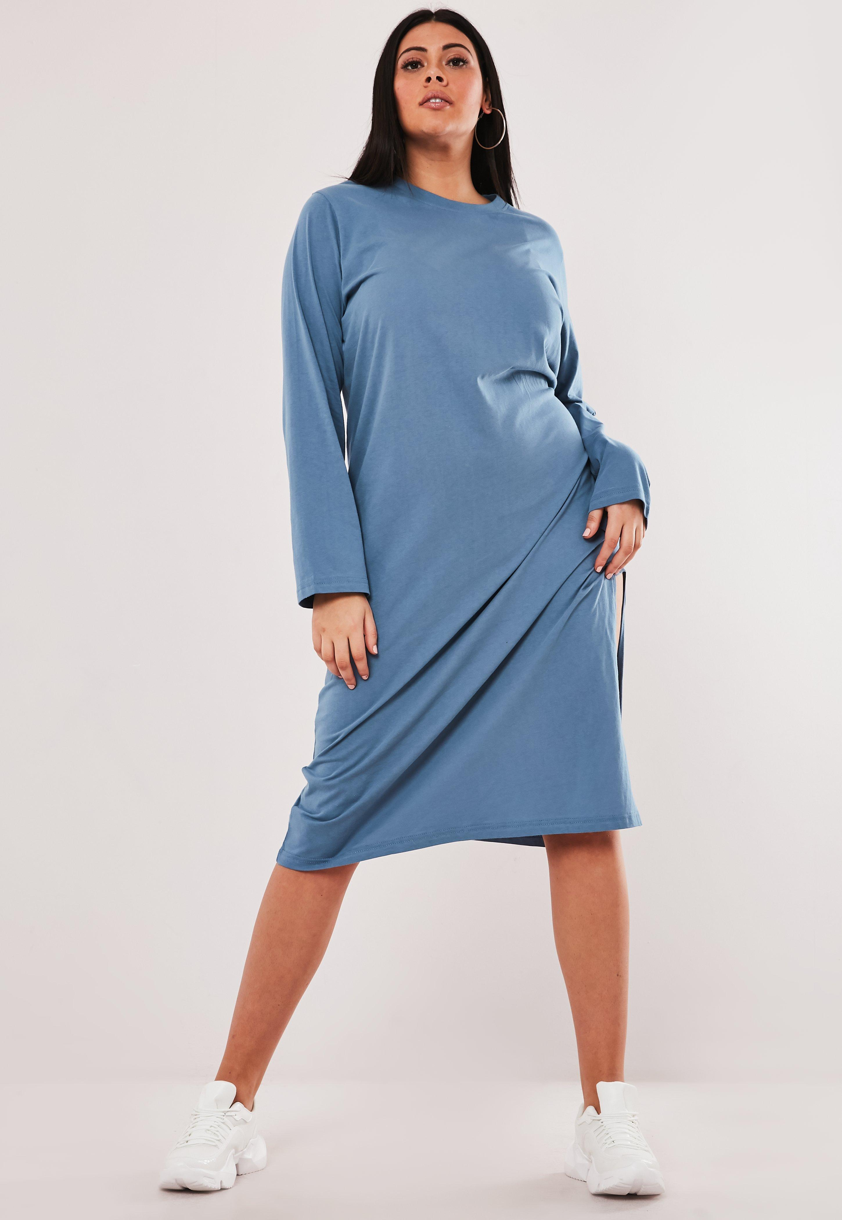 Plus Size Blue Basic Midi T Shirt Dress