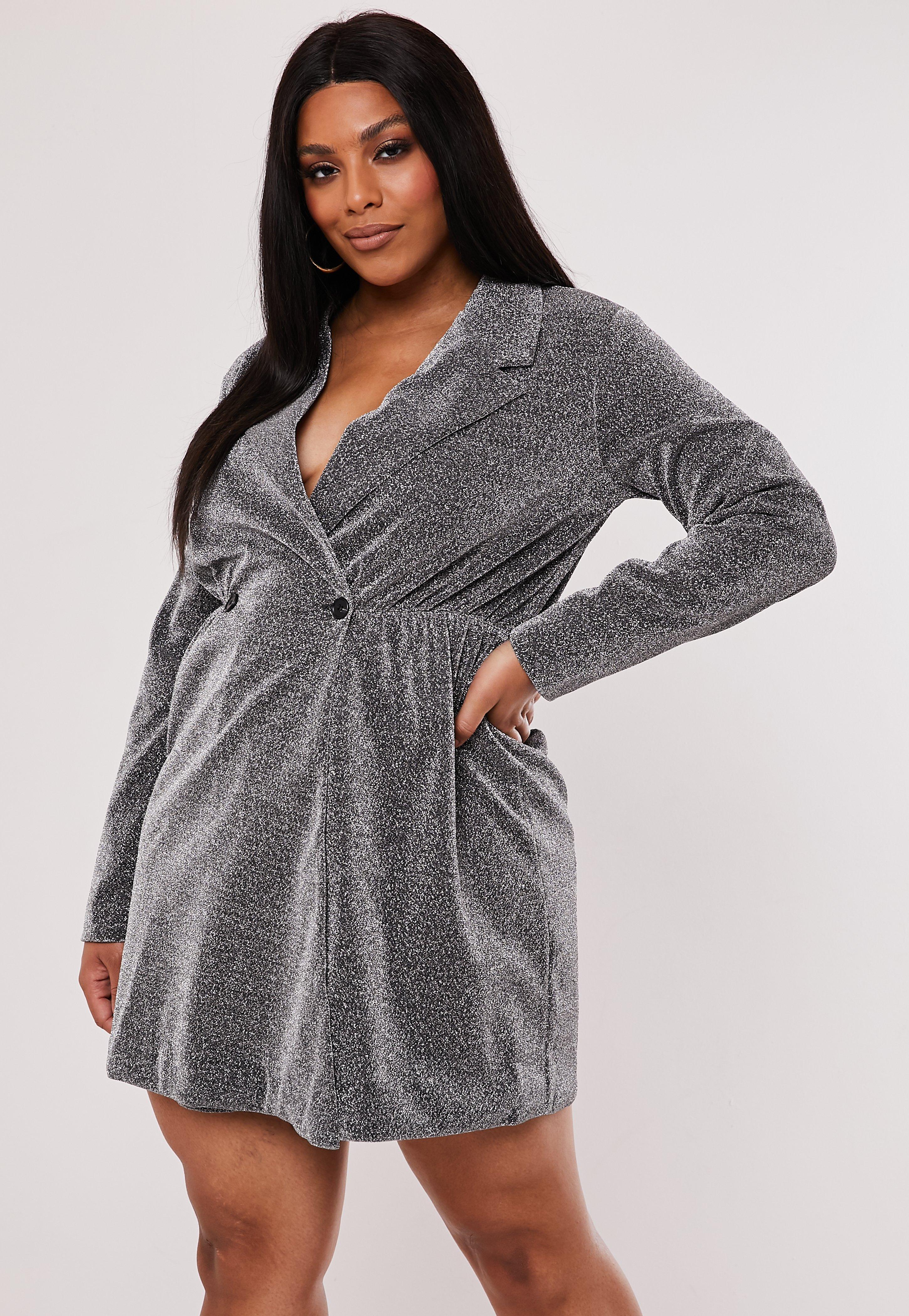 Plus Size Silver Glitter Wrap Blazer Dress