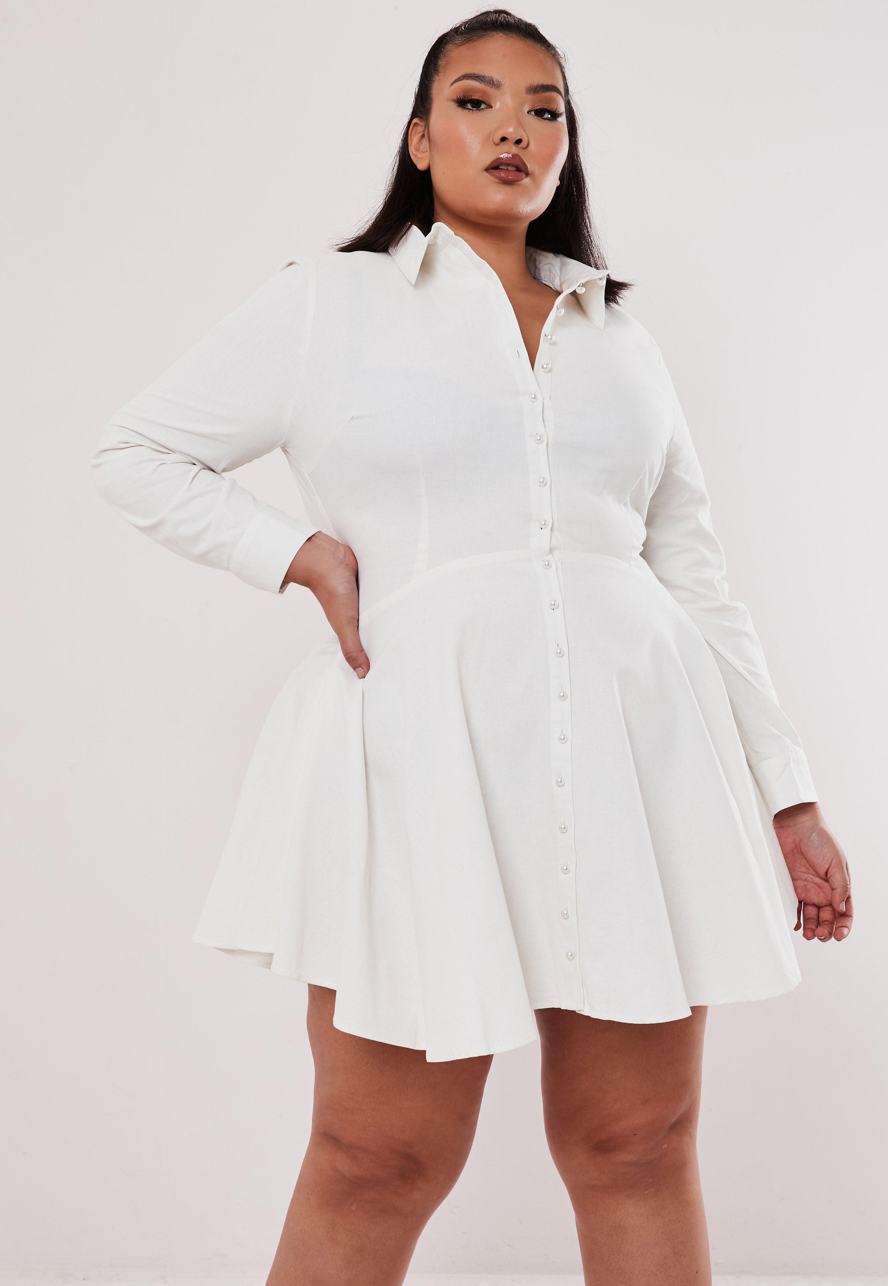 Plus Size White Pearl Button Shirt Dress