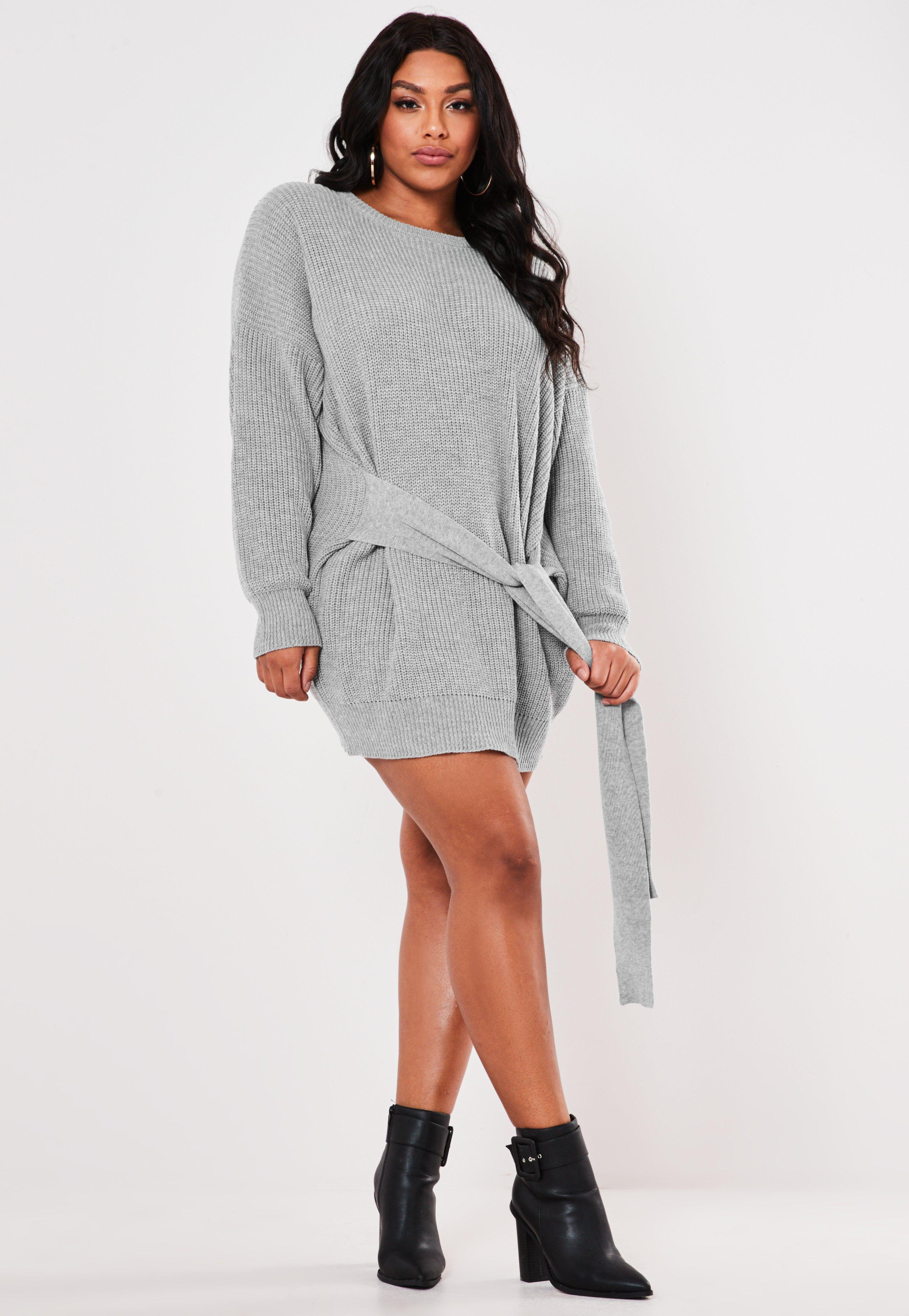 Plus Size Gray Tie Waist Jumper Dress