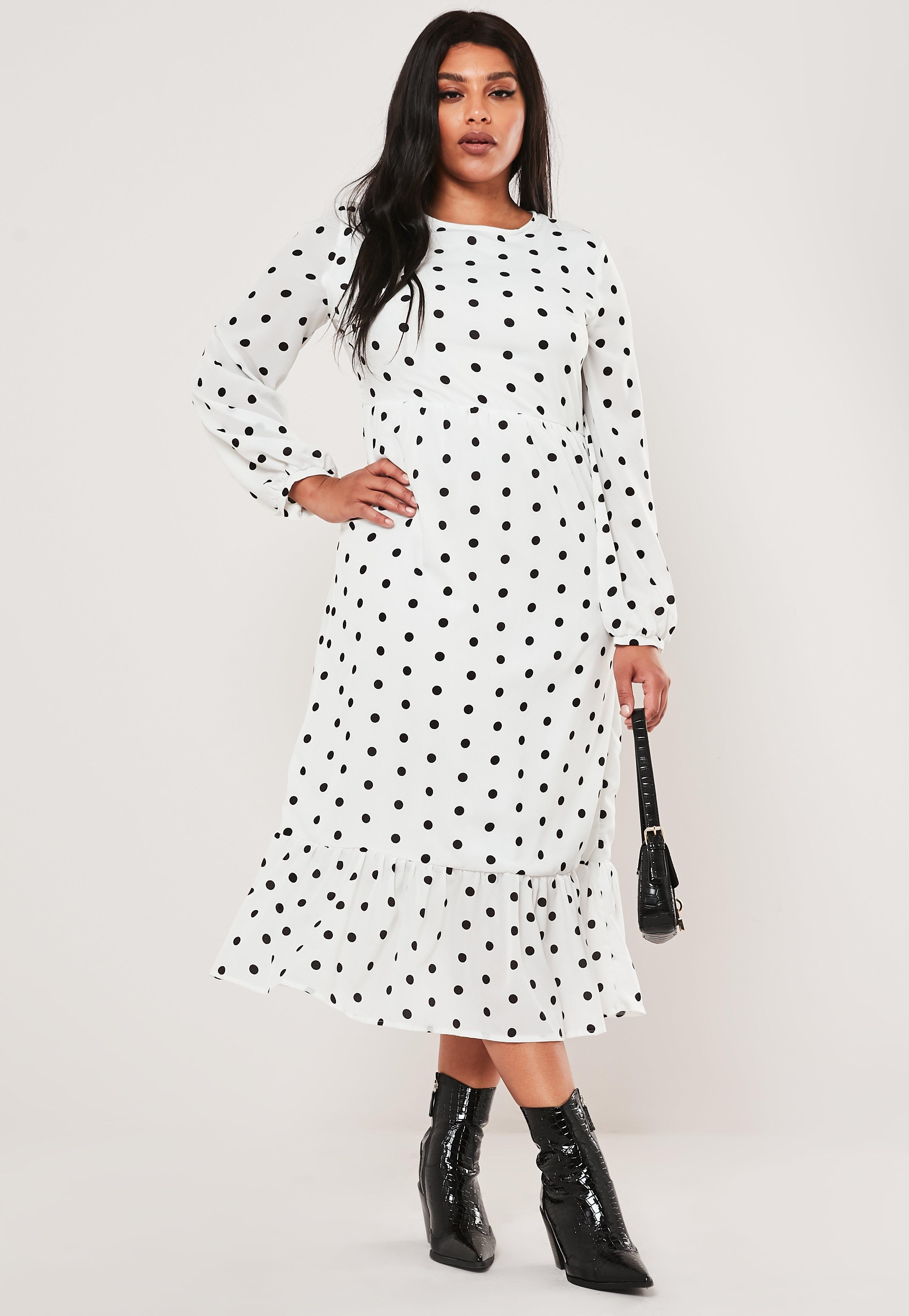 Plus Size White Polka Dot Maxi Smock Dress
