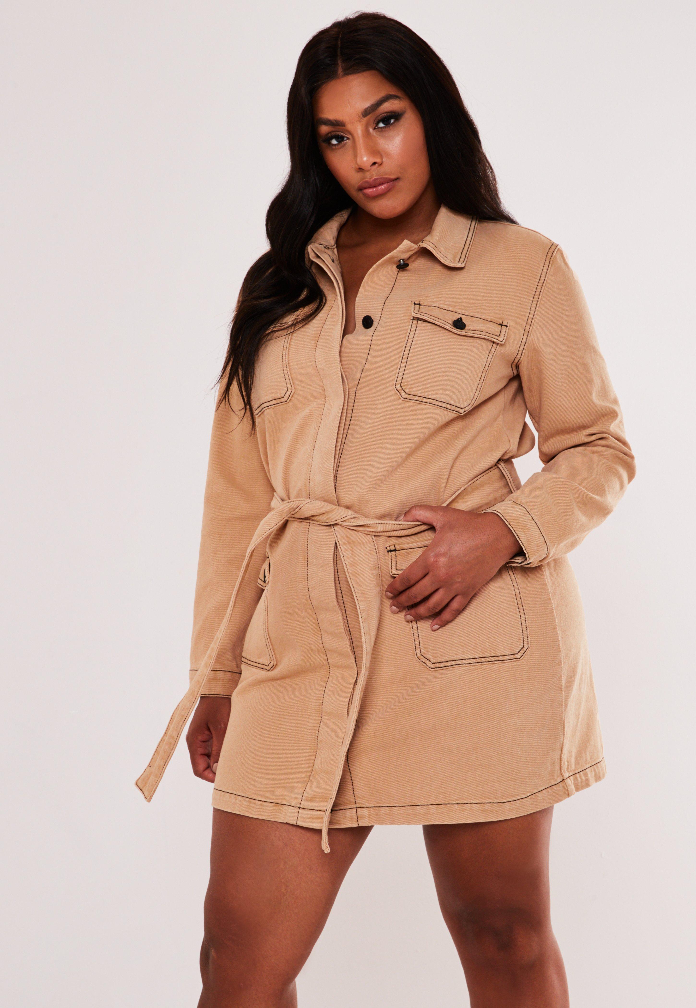 Plus Size Tan Denim Utility Belted Shirt Dress