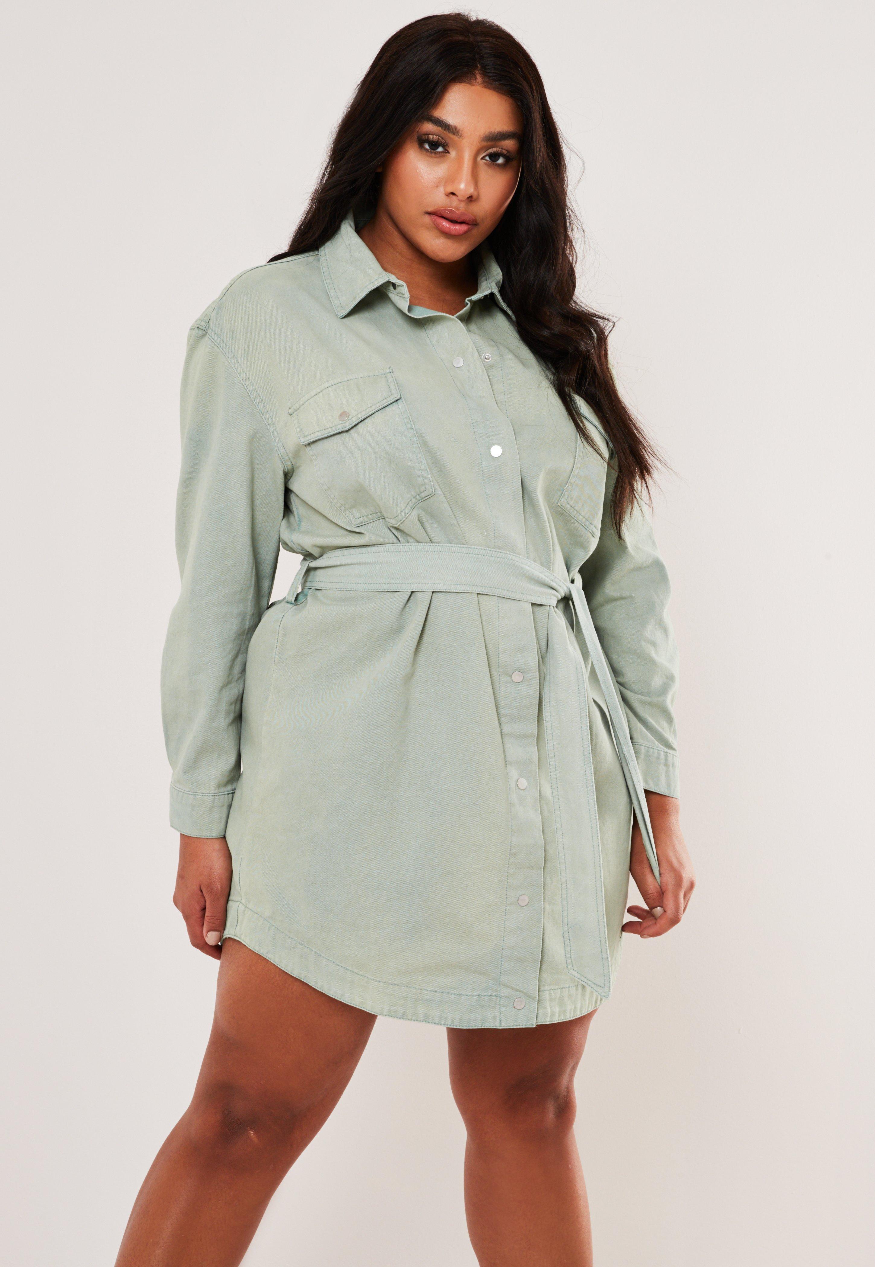 Robe chemise en jean verte oversize avec ceinture grandes tailles