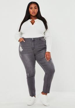 Plus Size Szare obcis?e jeansy Sinner z przetarciami