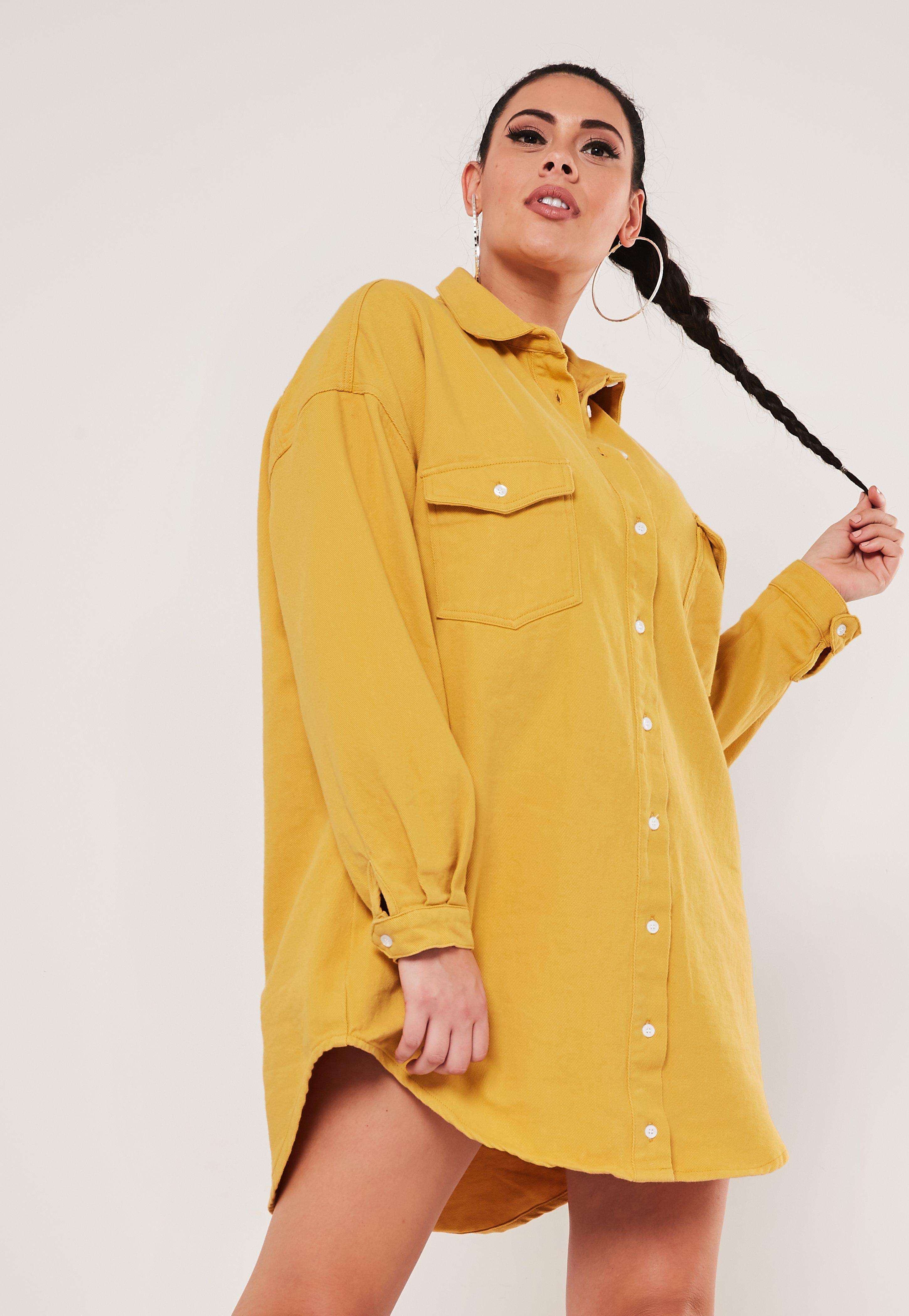 Plus Size Yellow Oversized Denim Boyfriend Shirt Dress