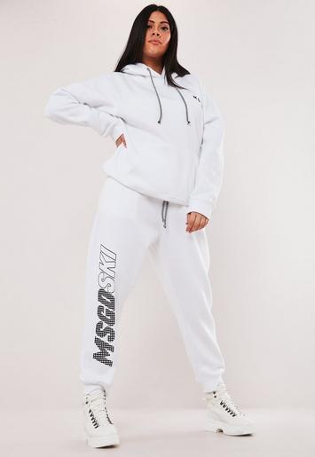 MSGD Ski Plus Size White Co Ord Jogger