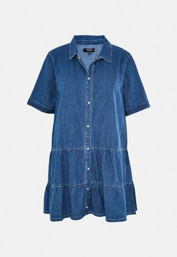 Plus Size Blue Tiered Denim Smock Dress