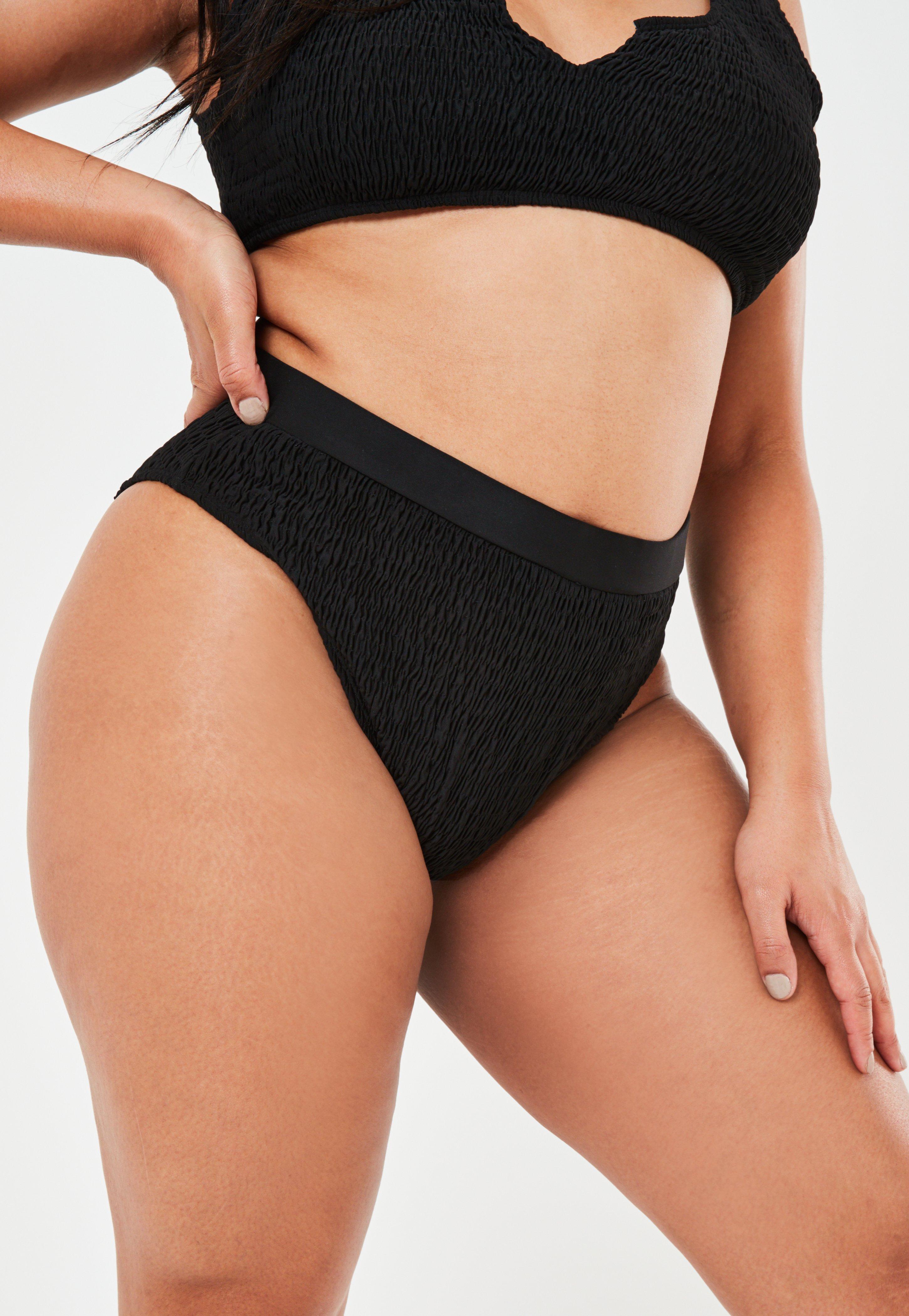 Plus Size Czarne marszczone majtki od stroju kąpielowego z wysokim stanem