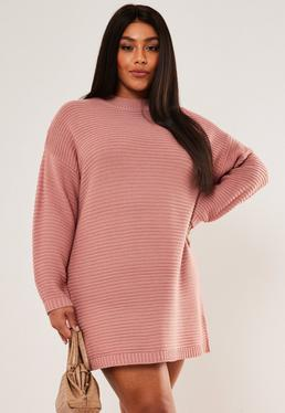 Plus Size Rose Ribbed High Neck Dress