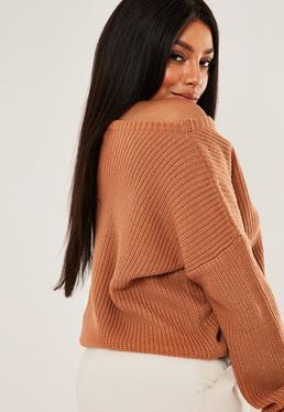 Plus Size Brown Off The Shoulder Knitted Sweater