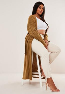 Plus Size Camel Belted Maxi Cardigan
