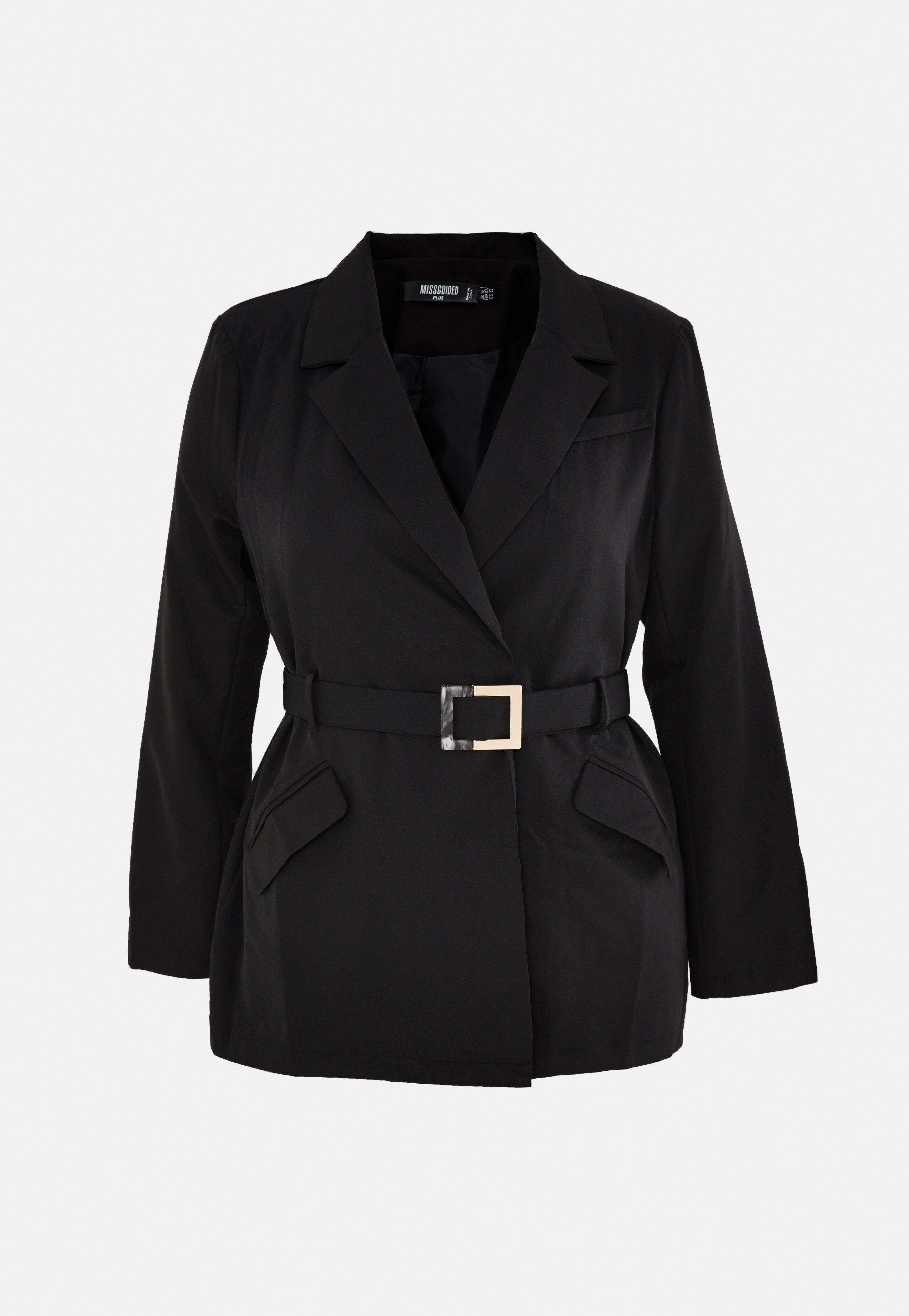 Missguided Blazer noir avec ceinture grandes tailles