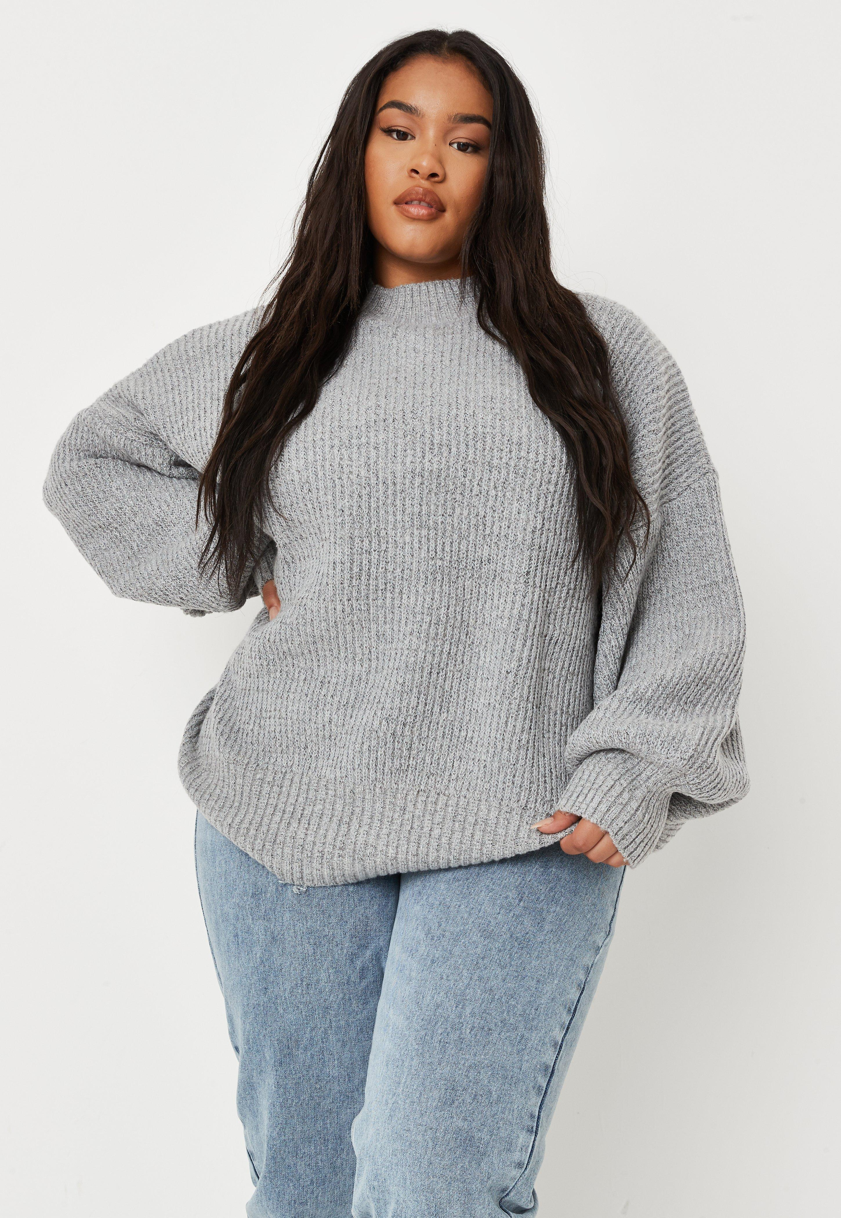 Plus Size Grey High Neck Balloon Sleeve Knitted Jumper