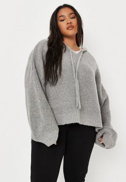 Plus Size Szary lu?ny boyfriendowy sweter z kapturem
