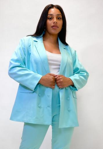 Plus Size Turquoise Co Ord Oversized Button Front Blazer