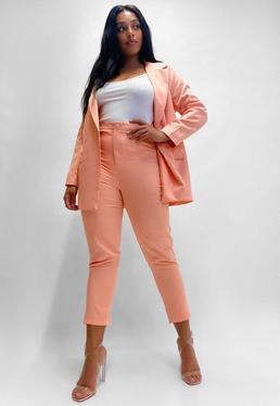 Plus Size Brzoskwiniowe spodnie cygaretki basic