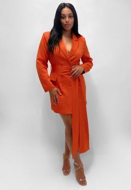 Plus Size Pomarańczowa sukienka marynarka z d?ugim wi?zanym paskiem