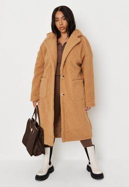 Missguided longline borg coat in brown | Womens spring coat