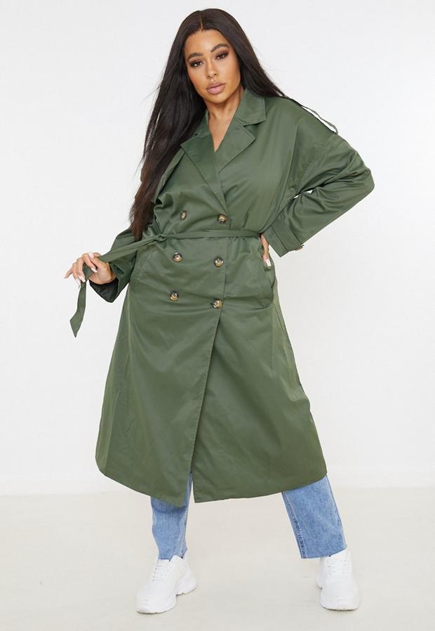 Artikel klicken und genauer betrachten! - Plus Size Oversize-Trenchcoat in Midaxi-Länge in Khaki   im Online Shop kaufen