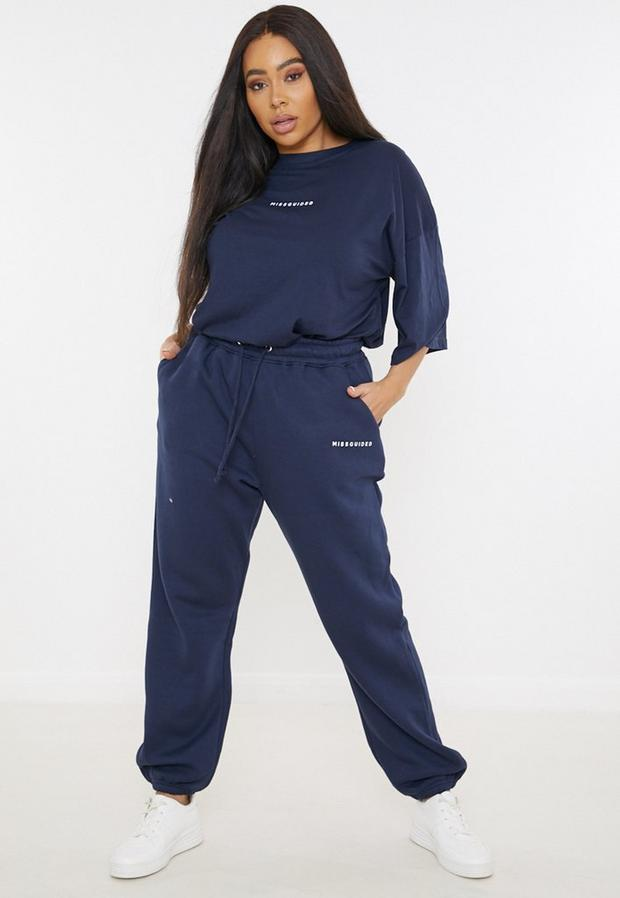 plus size navy missguided oversized 90s joggers