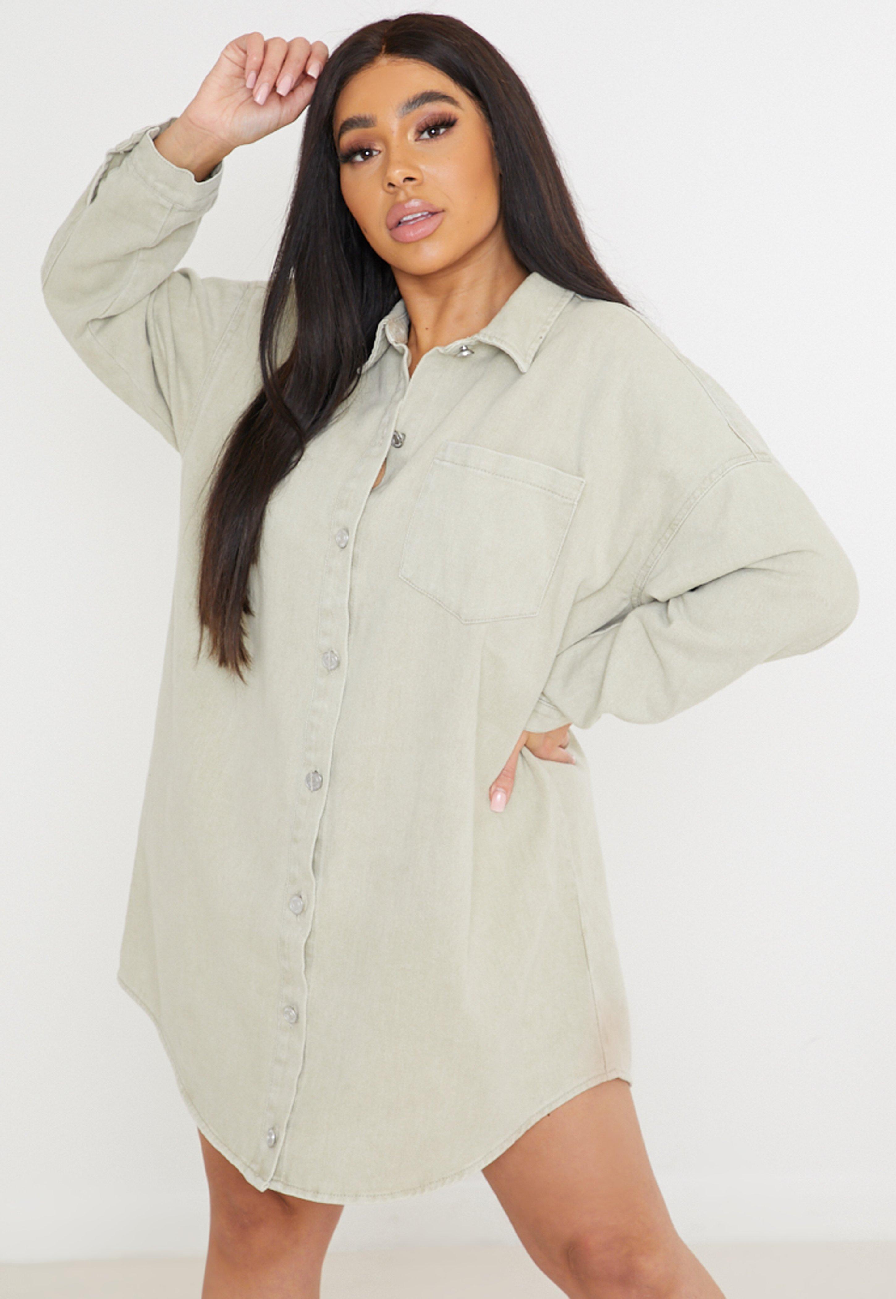 Plus Size Stone Oversized Denim Shirt Dress