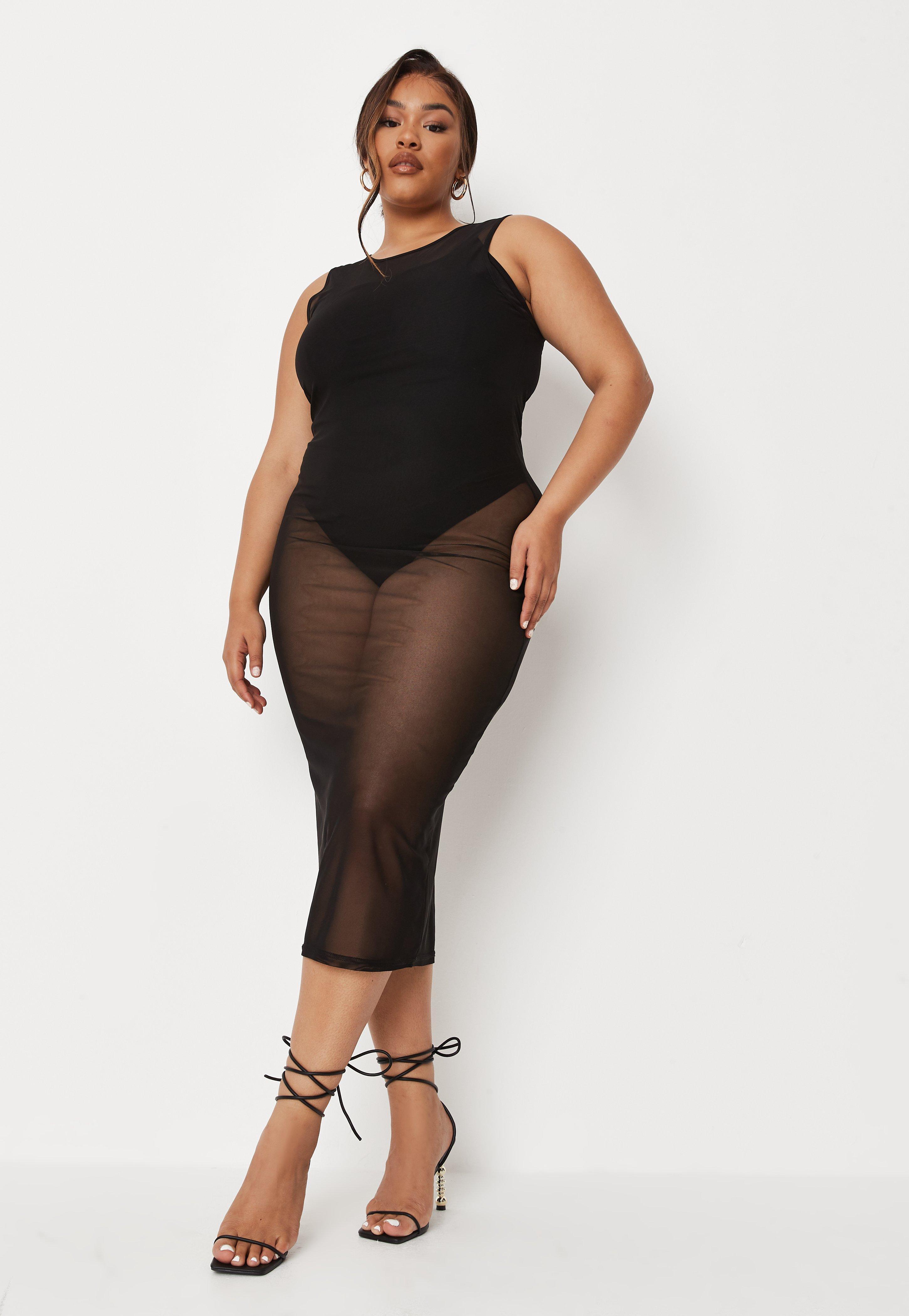 Plus Size Black Mesh Racer Neck Maxi Dress