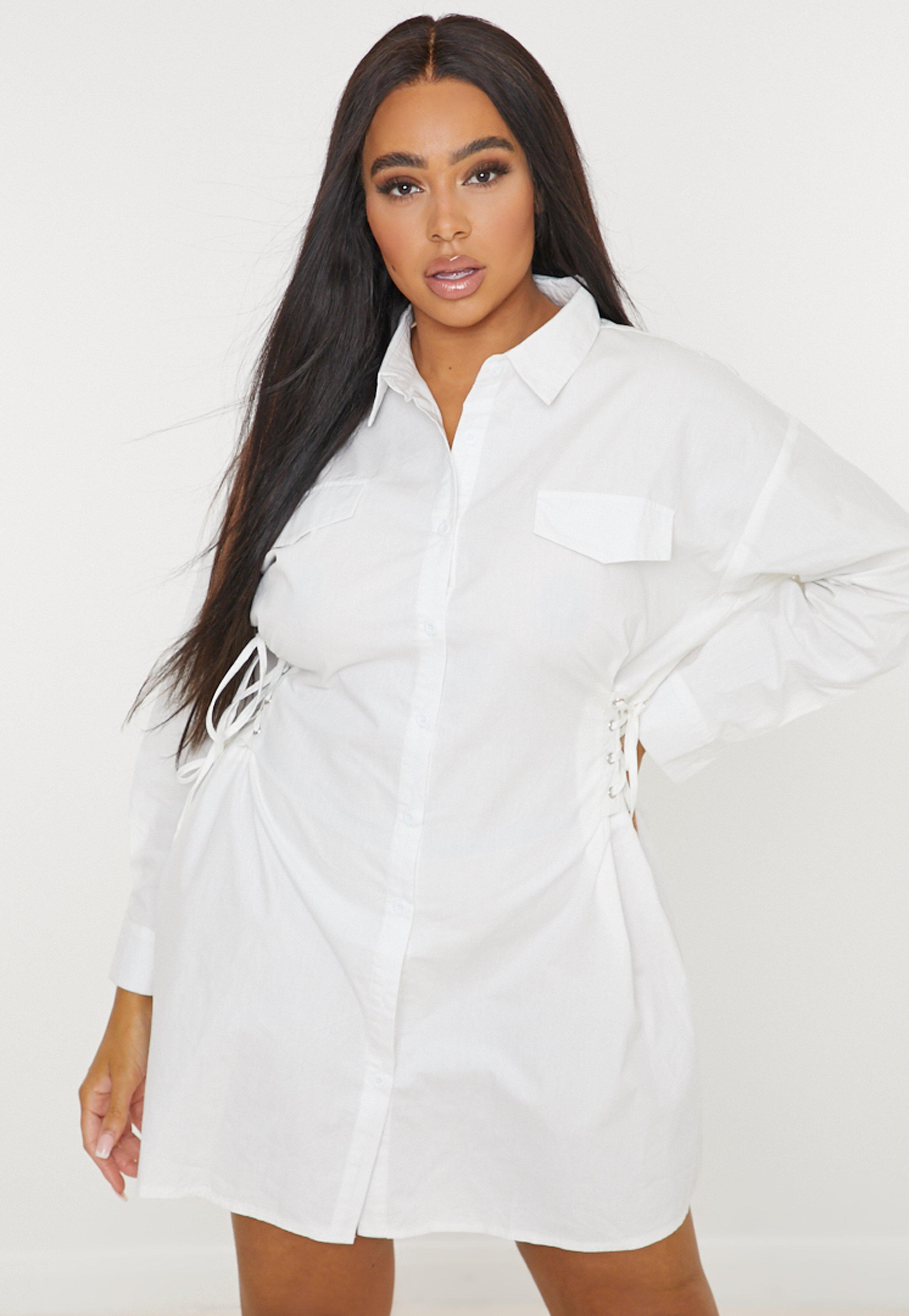 plus size white shirt dress with collar