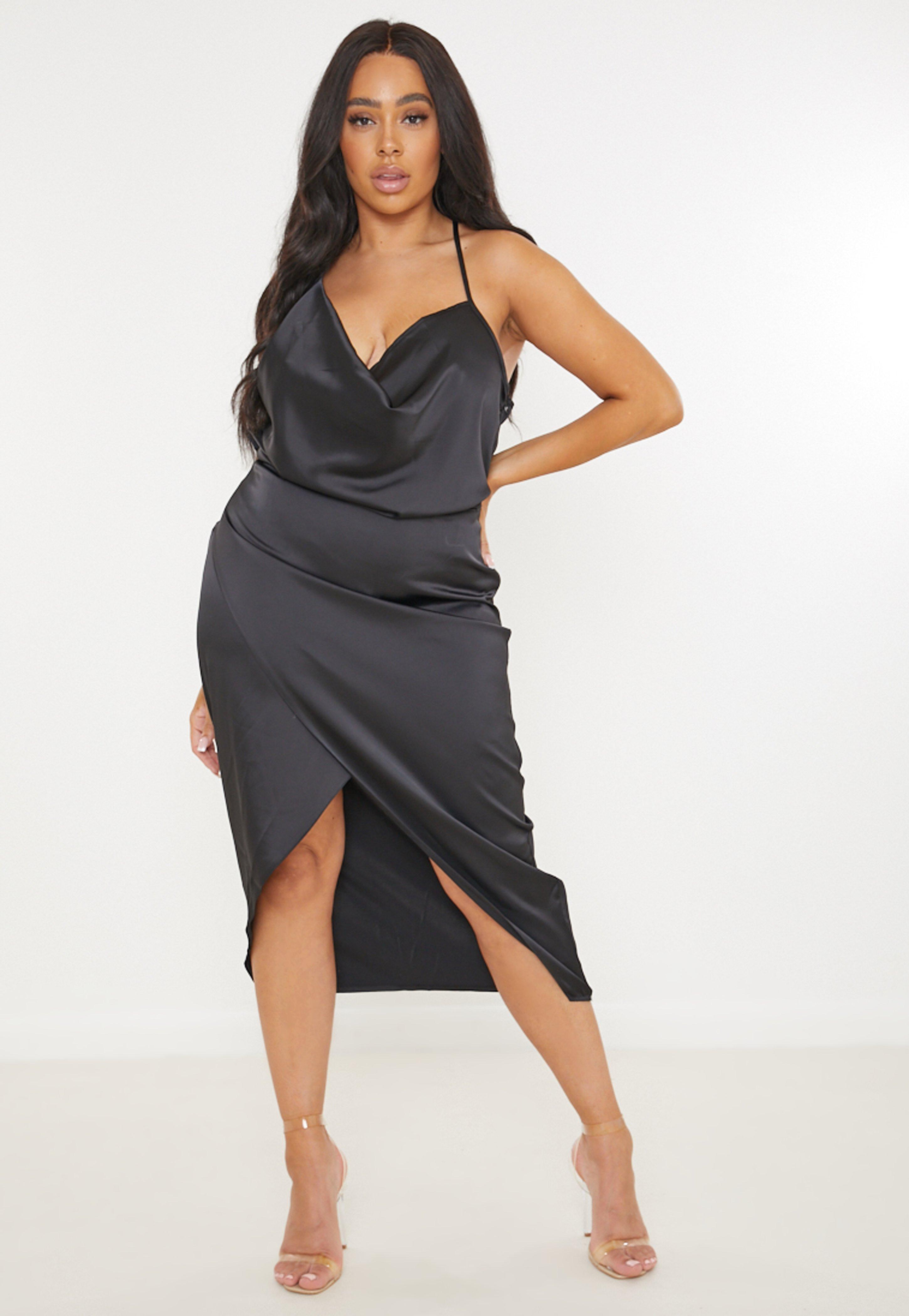 Plus Size Black Drape Satin Midi Dress Missguided