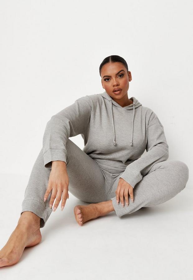 Plus Size Gray Waffle Hoodie And Joggers Loungewear Set