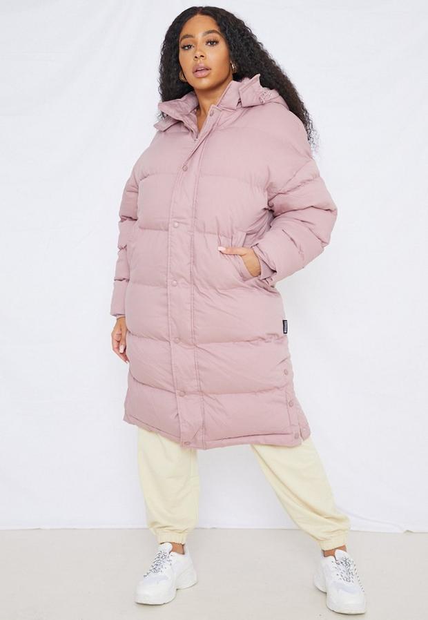 Artikel klicken und genauer betrachten! - Plus Size langer, gesteppter Longline-Puffermantel in Mokka   im Online Shop kaufen
