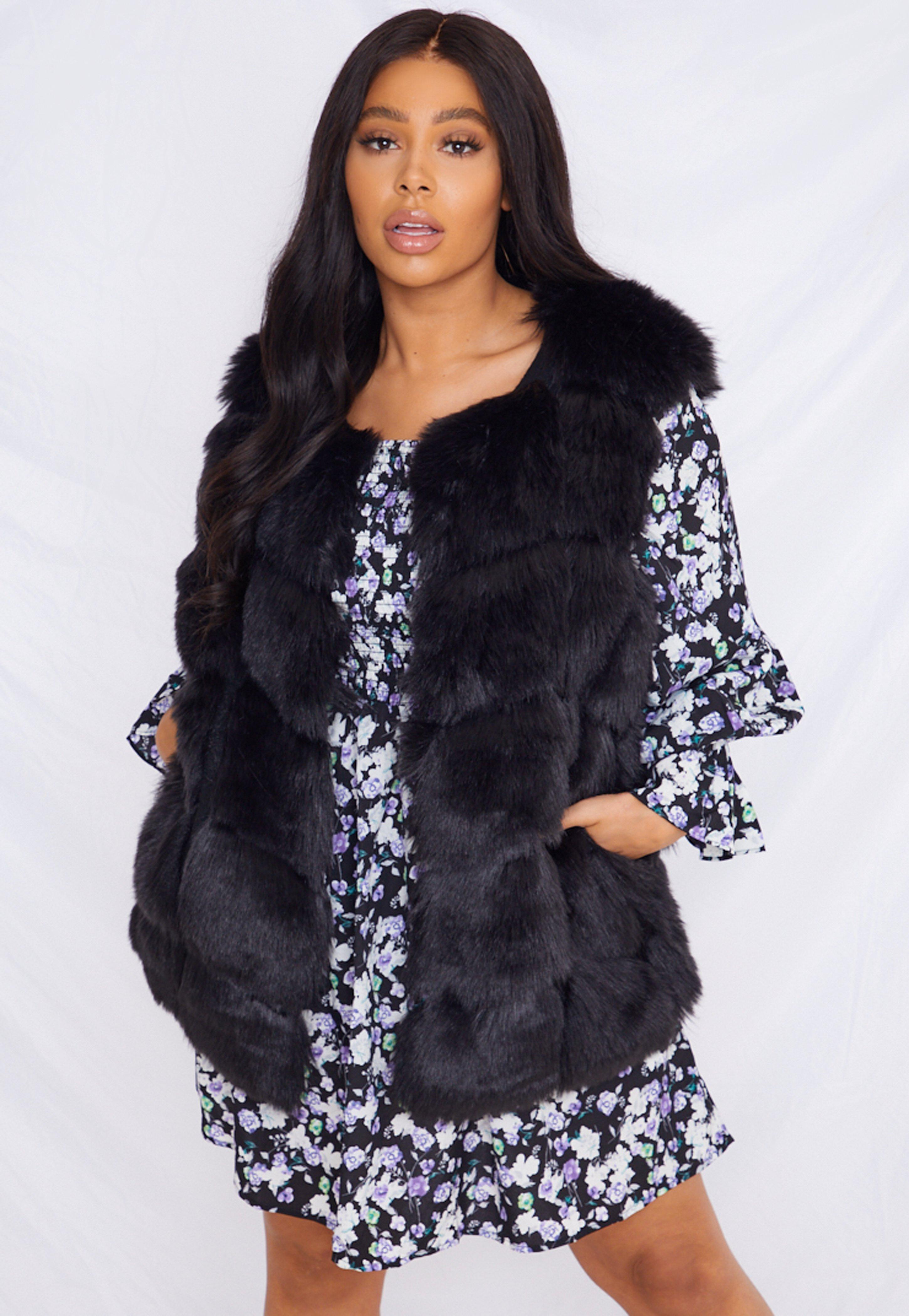 Plus Size Black Faux Fur Bubble Gilet
