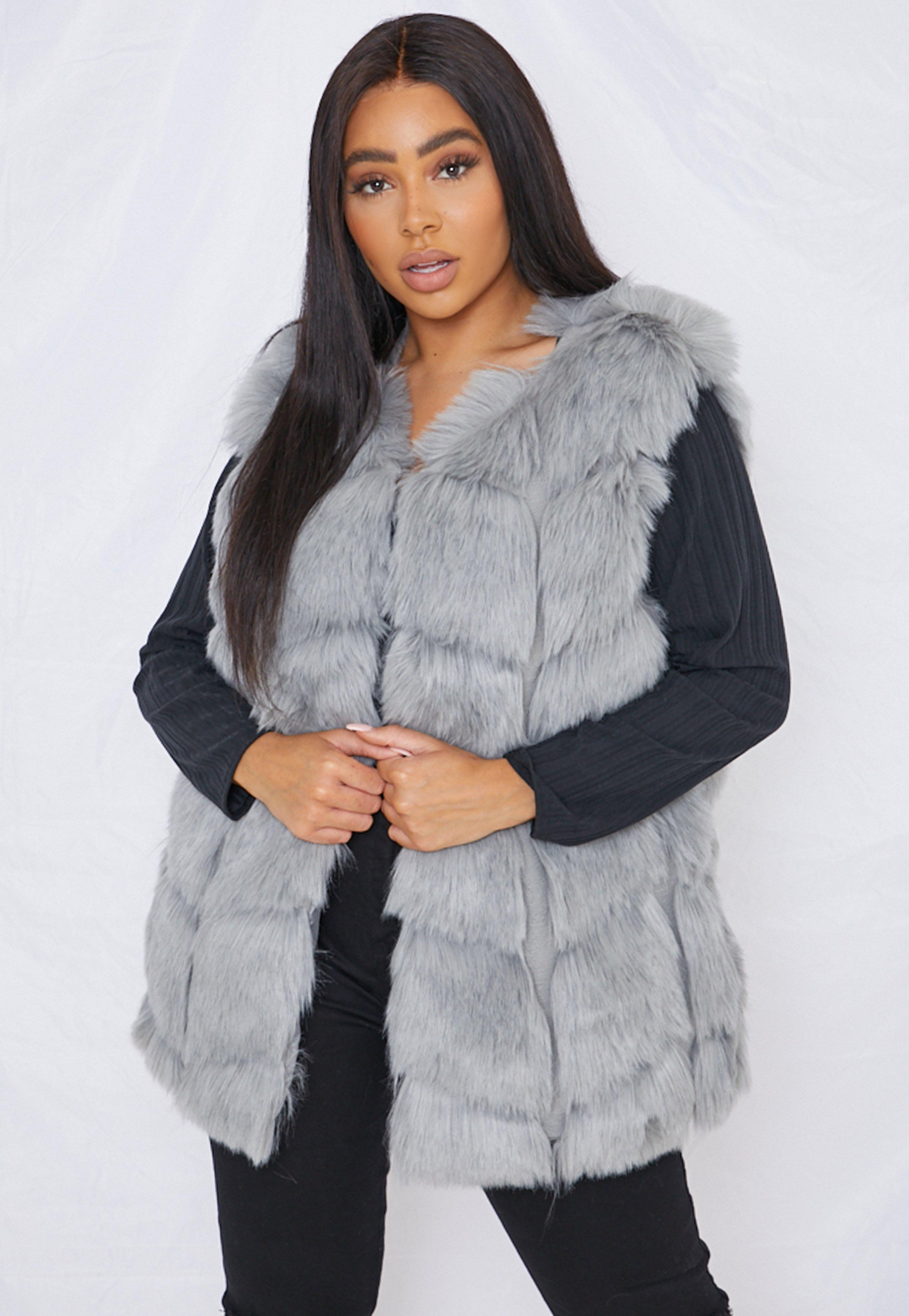 Plus Size Grey Faux Fur Bubble Gilet