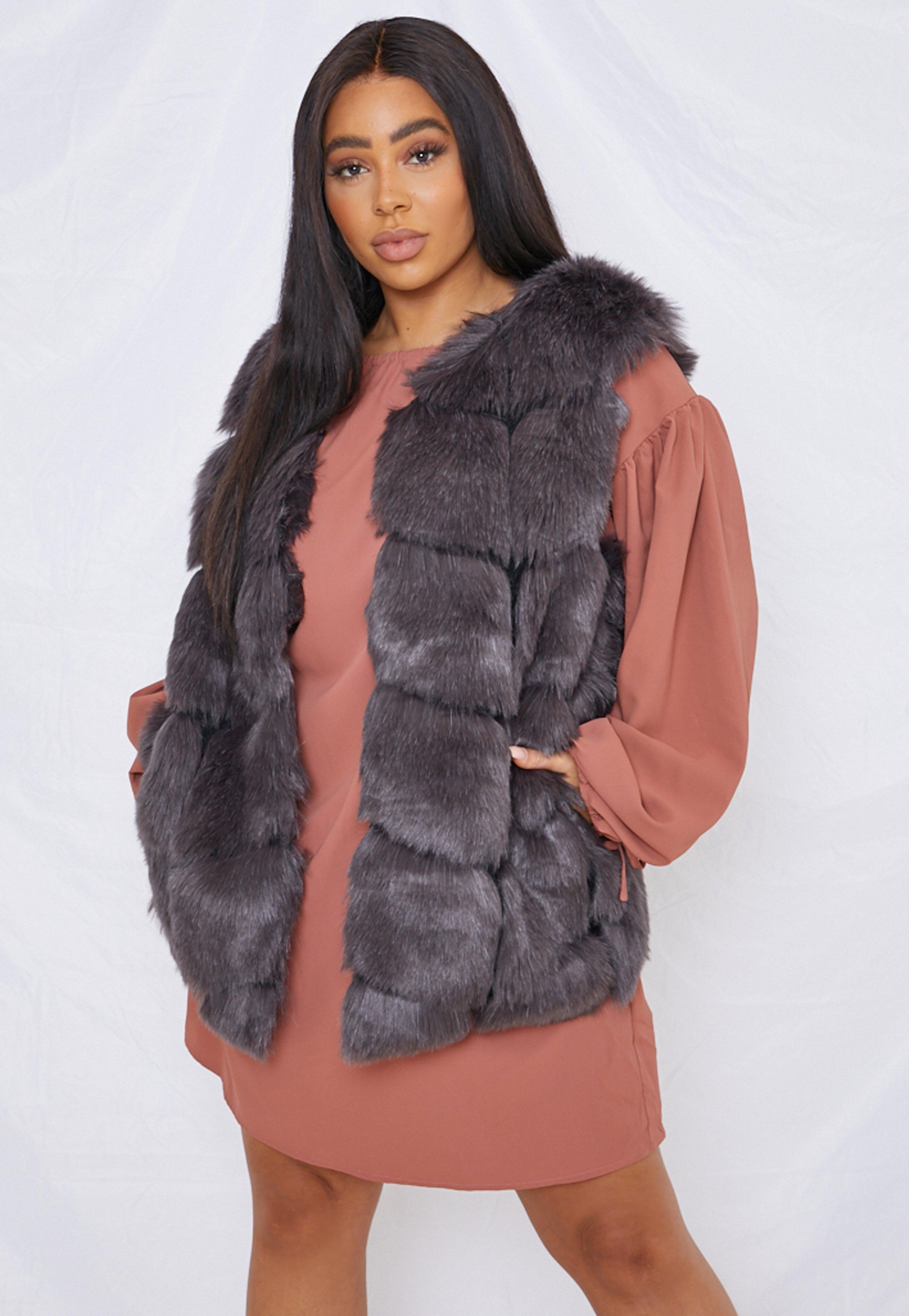 Plus Size Charcoal Faux Fur Bubble Gilet